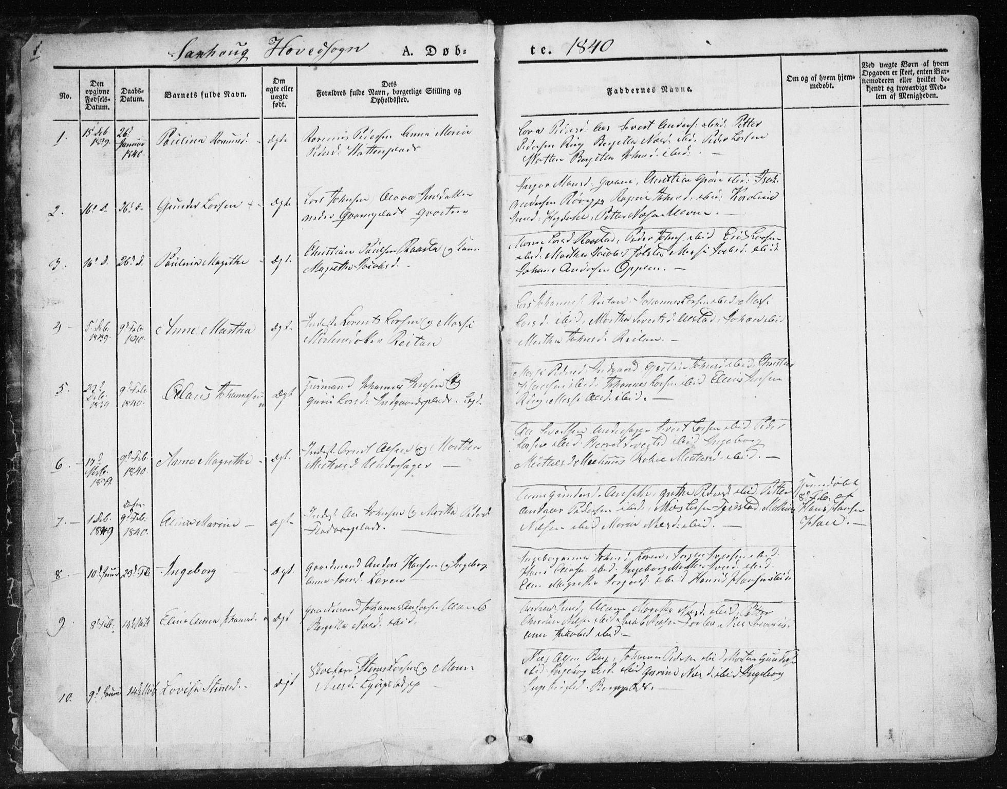 SAT, Ministerialprotokoller, klokkerbøker og fødselsregistre - Nord-Trøndelag, 730/L0280: Parish register (official) no. 730A07 /1, 1840-1854, p. 1