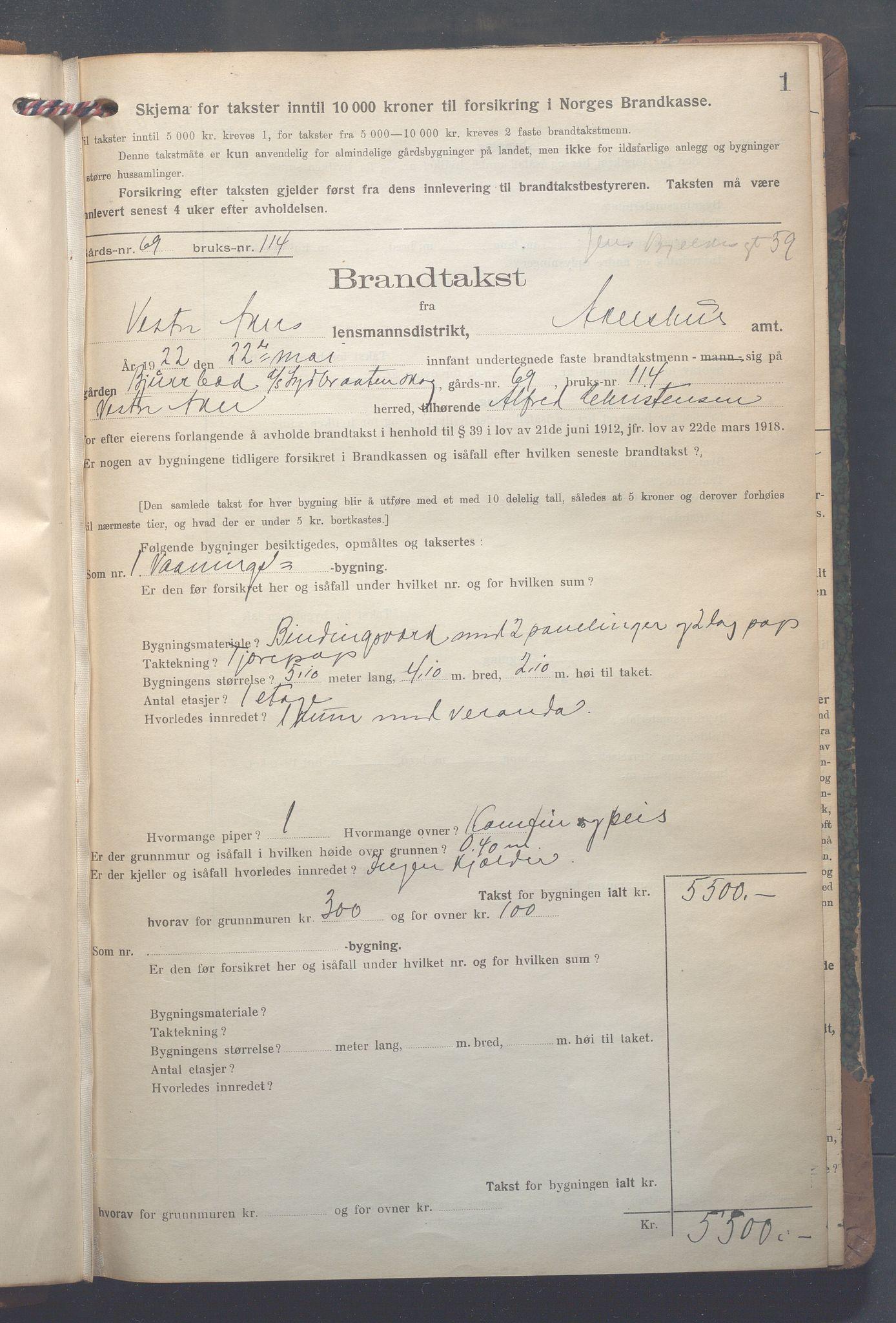 OBA, Lensmennene i Aker, F/Fa/L0022: Branntakstprotokoll, 1922-1949, p. 1