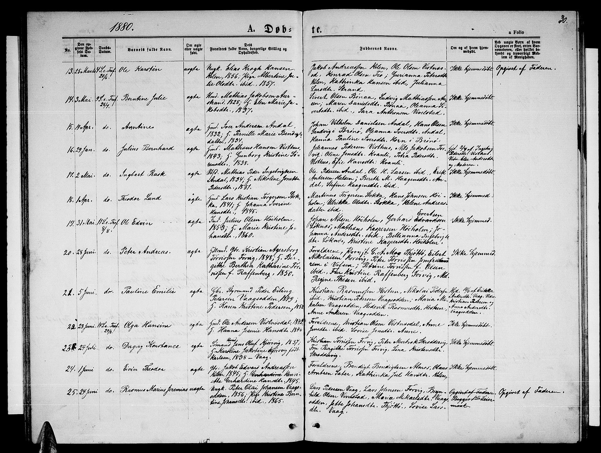SAT, Ministerialprotokoller, klokkerbøker og fødselsregistre - Nordland, 819/L0276: Parish register (copy) no. 819C02, 1869-1887, p. 30