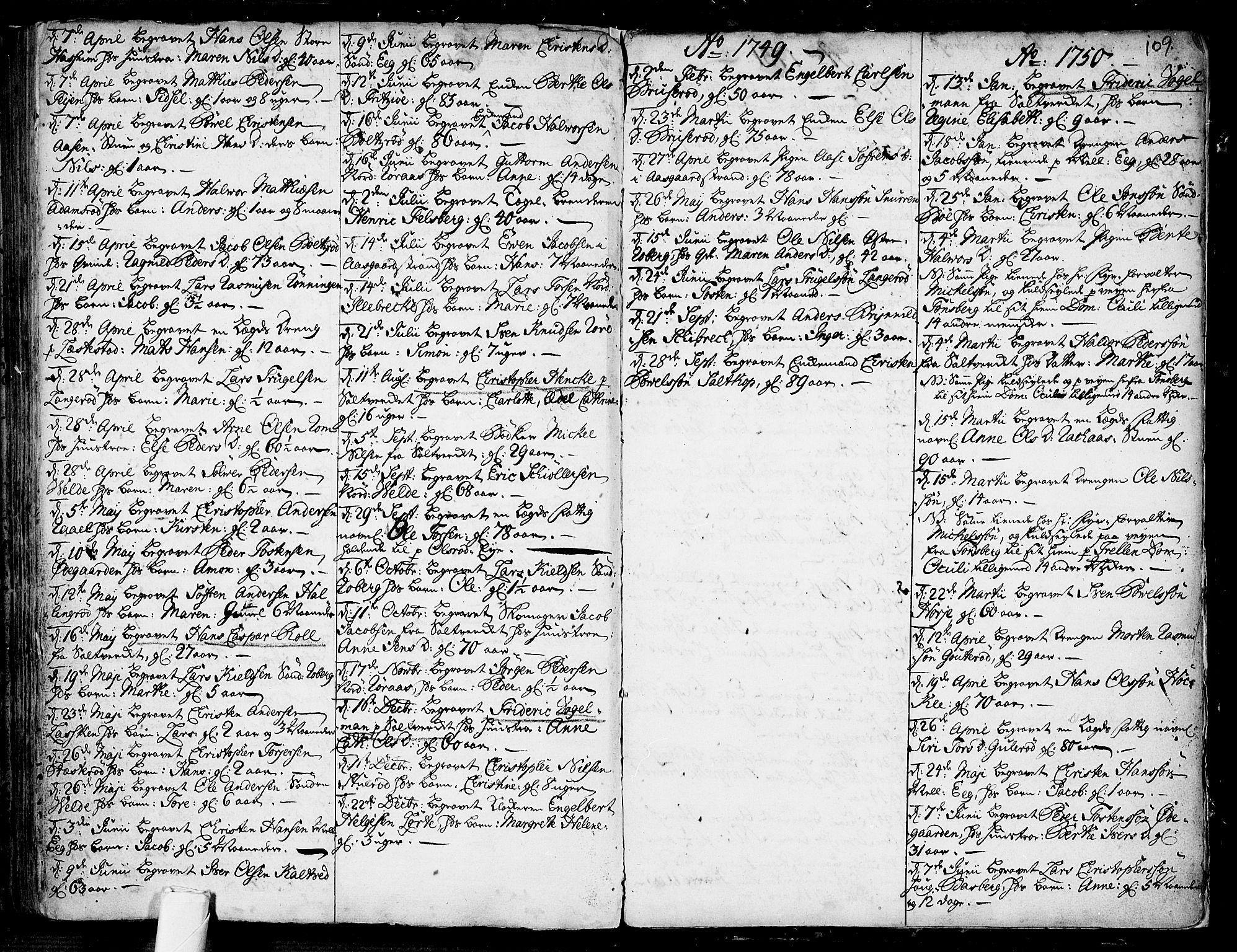 SAKO, Sem kirkebøker, F/Fb/L0001: Parish register (official) no. II 1, 1702-1764, p. 109
