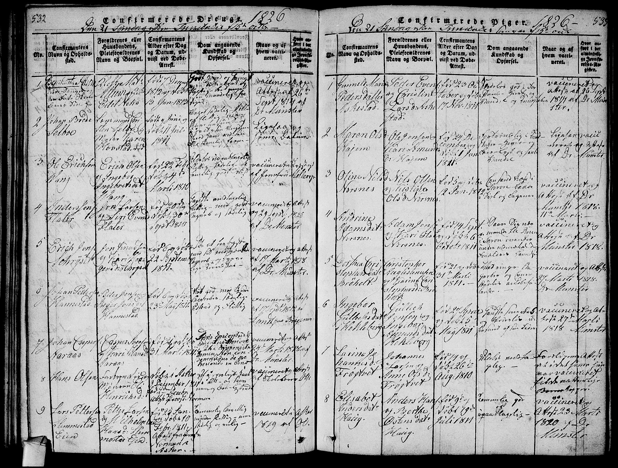 SAKO, Røyken kirkebøker, F/Fa/L0004: Parish register (official) no. 4, 1814-1832, p. 532-533