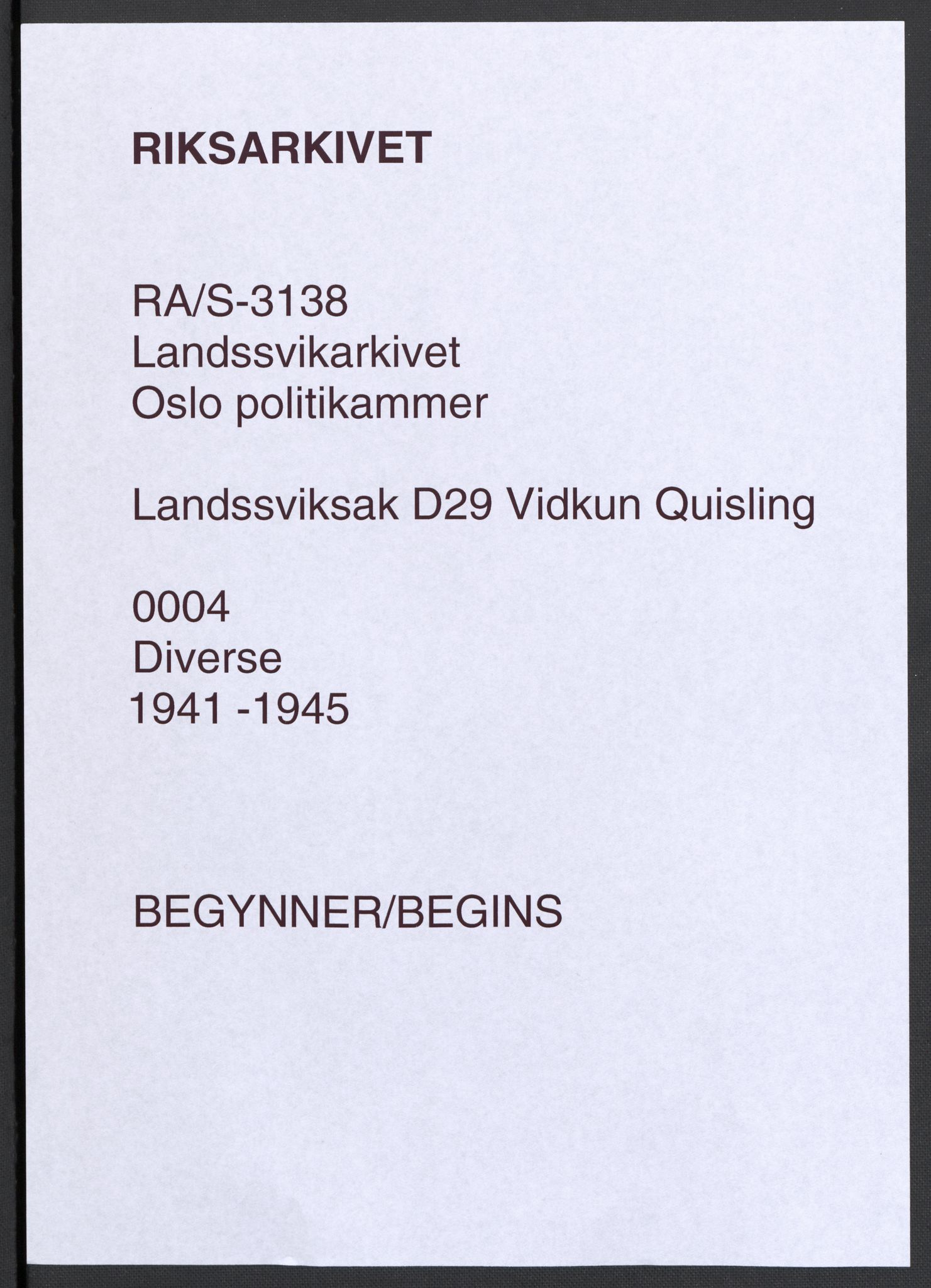 RA, Landssvikarkivet, D/Da/L0006: Dnr. 29, 1945, p. 1