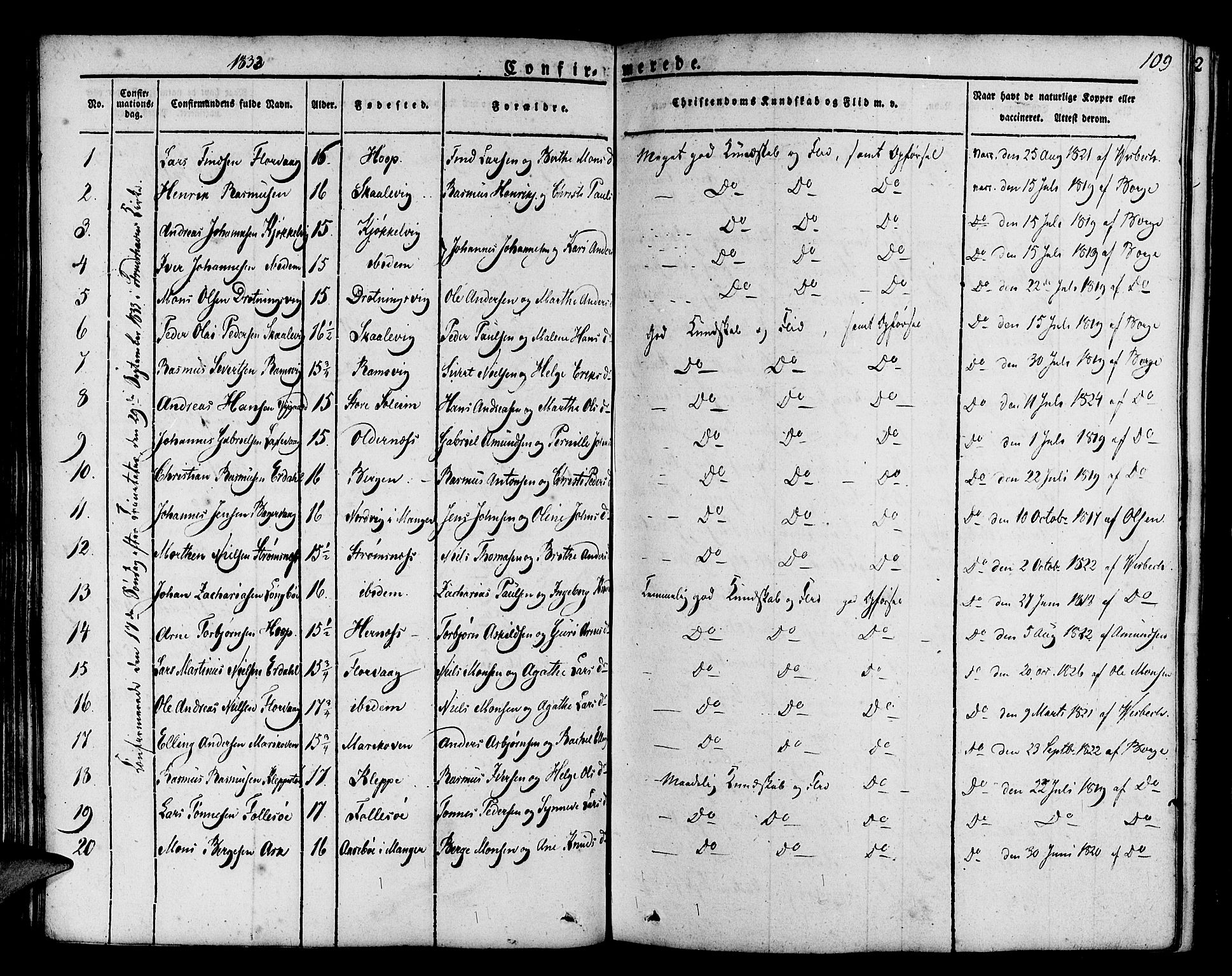 SAB, Askøy Sokneprestembete, H/Ha/Haa/Haaa/L0004: Parish register (official) no. A 4, 1825-1845, p. 109