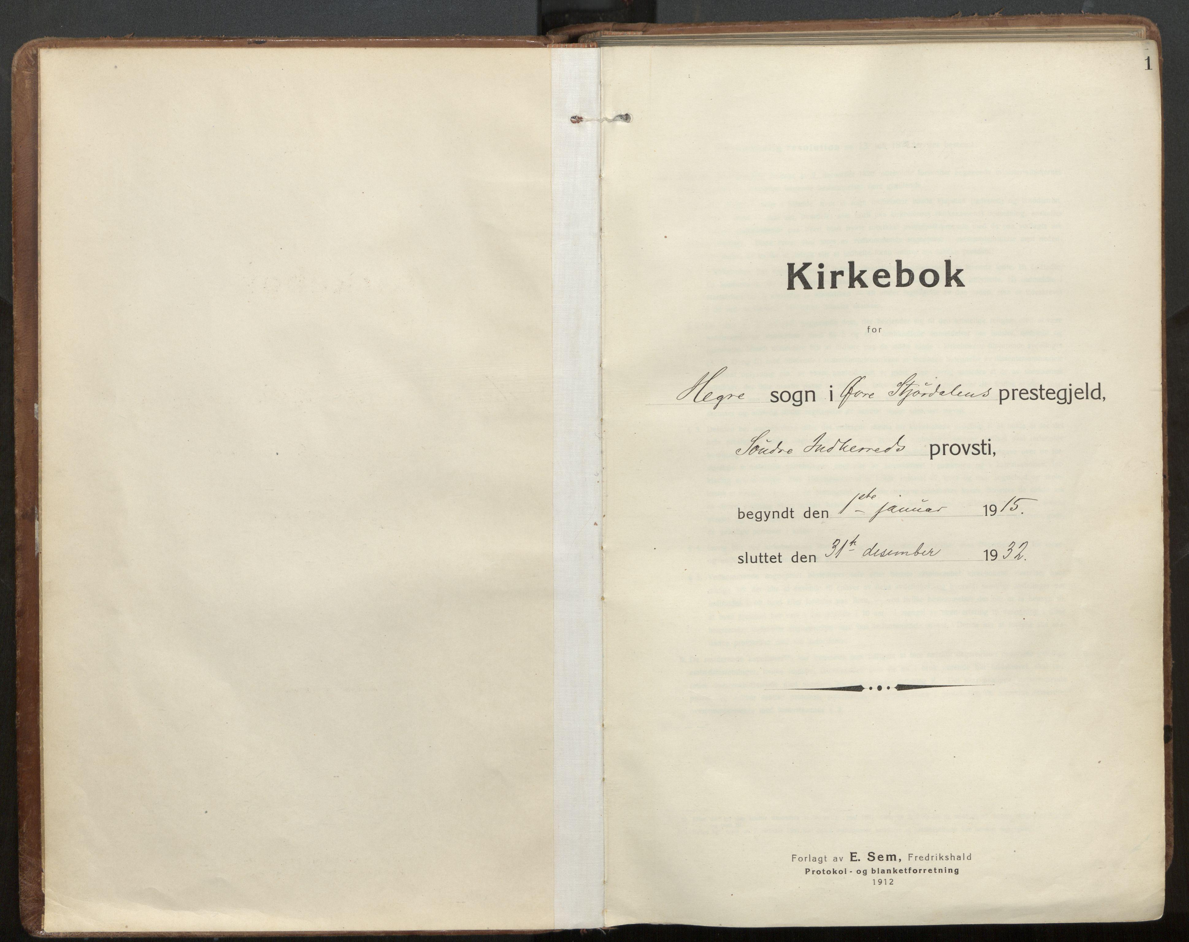 SAT, Ministerialprotokoller, klokkerbøker og fødselsregistre - Nord-Trøndelag, 703/L0037: Parish register (official) no. 703A10, 1915-1932, p. 1
