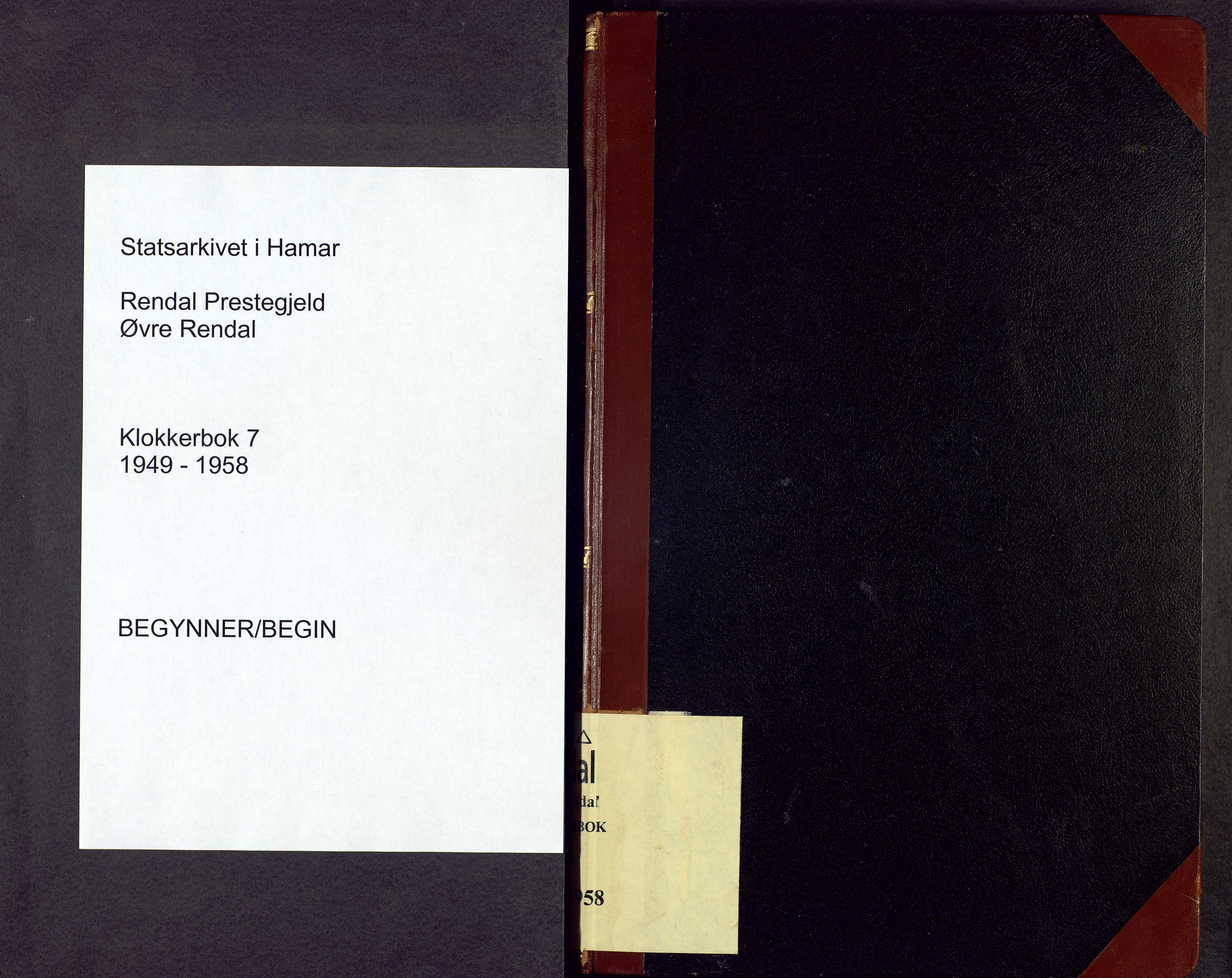 SAH, Rendalen prestekontor, H/Ha/Hab/L0007: Parish register (copy) no. 7, 1949-1958