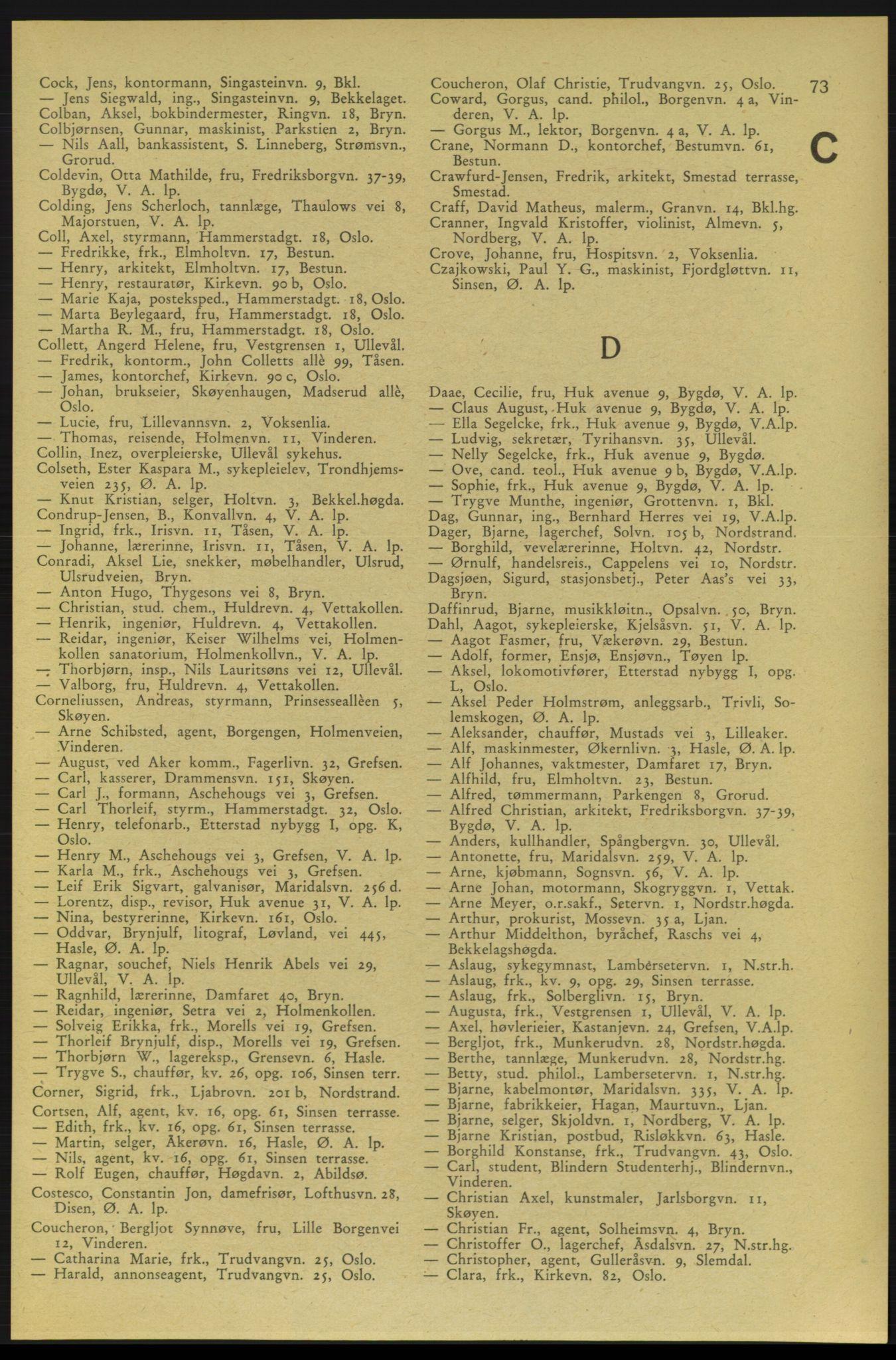 RA, Aker adressebok/adressekalender (publikasjon)*, 1937-1938, p. 73