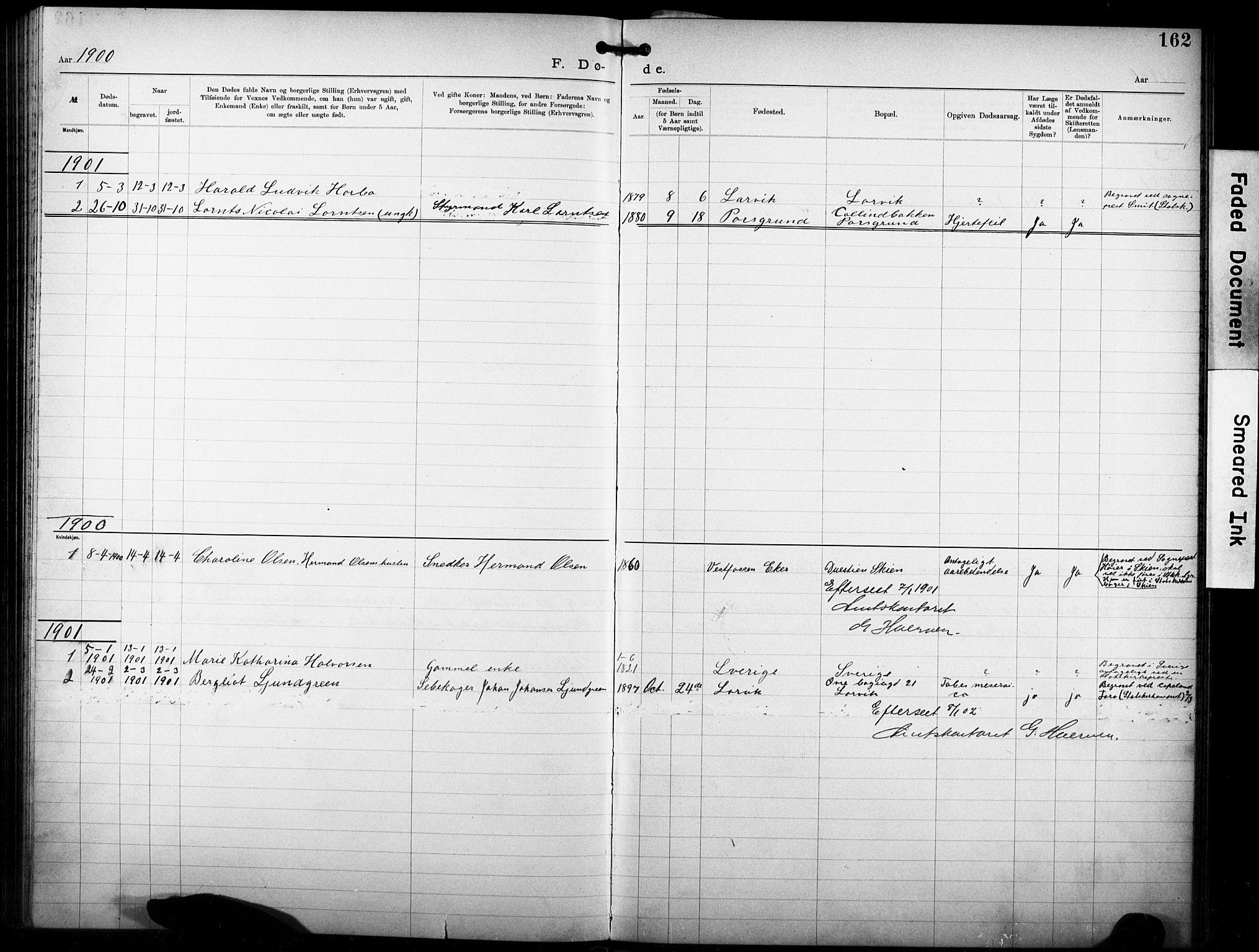 SAKO, Den katolsk-apostoliske menighet i Larvik, F/Fa/L0001: Dissenter register no. 1, 1892-1933, p. 162