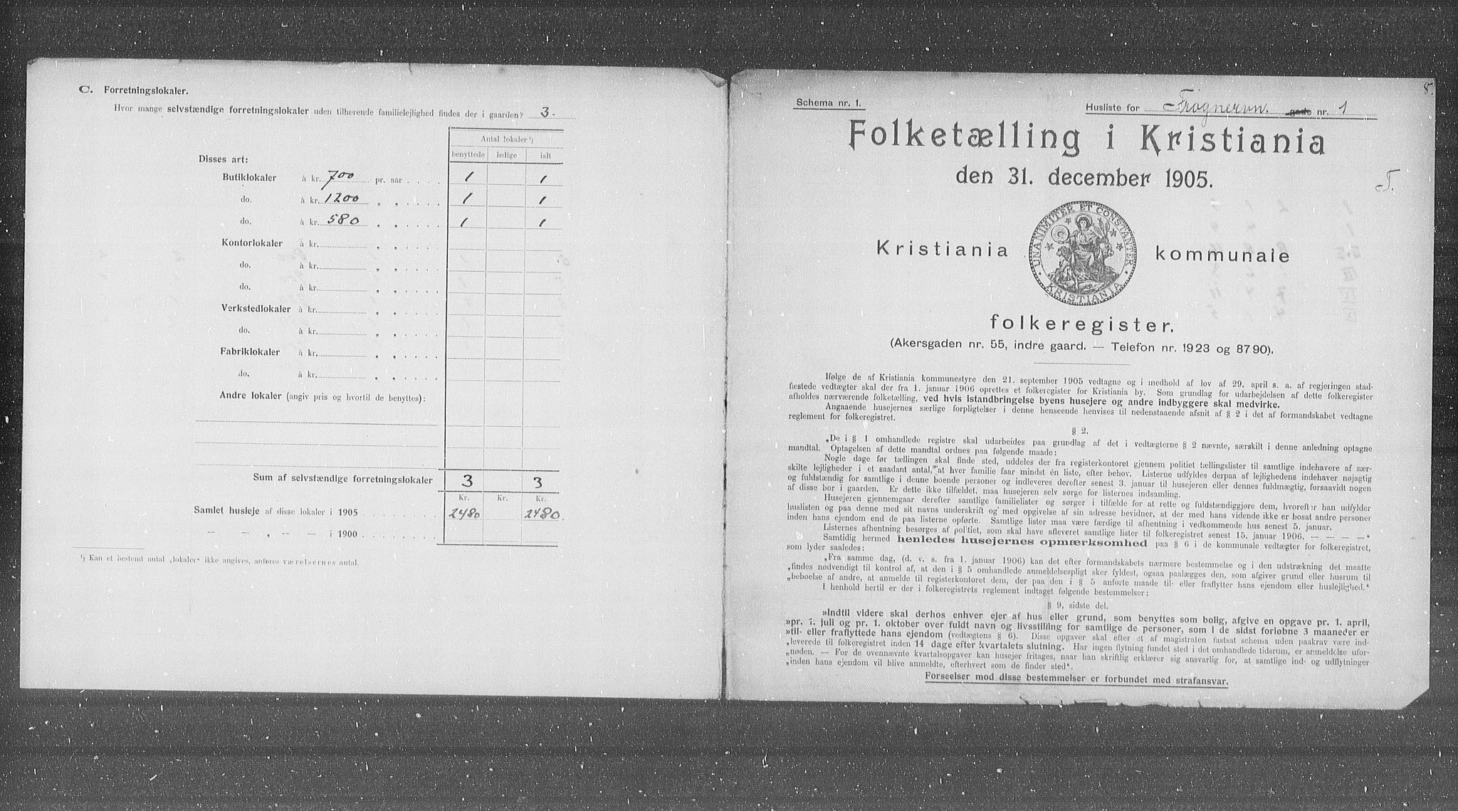 OBA, Municipal Census 1905 for Kristiania, 1905, p. 13973