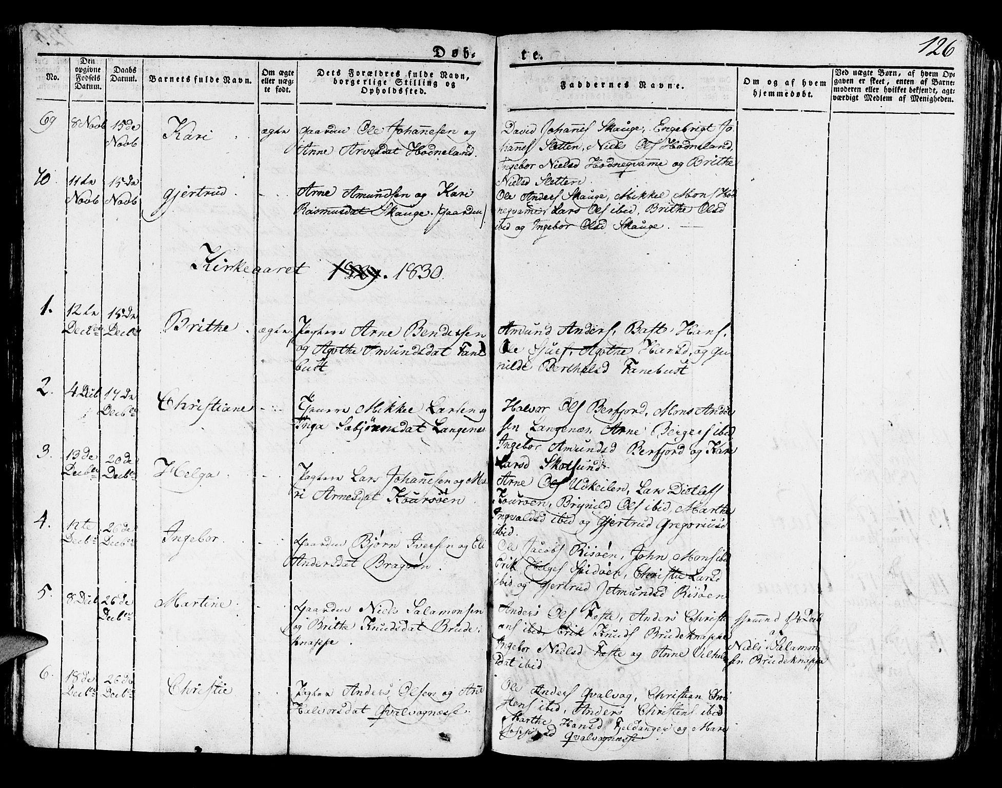 SAB, Lindås Sokneprestembete, H/Haa: Parish register (official) no. A 8, 1823-1836, p. 126