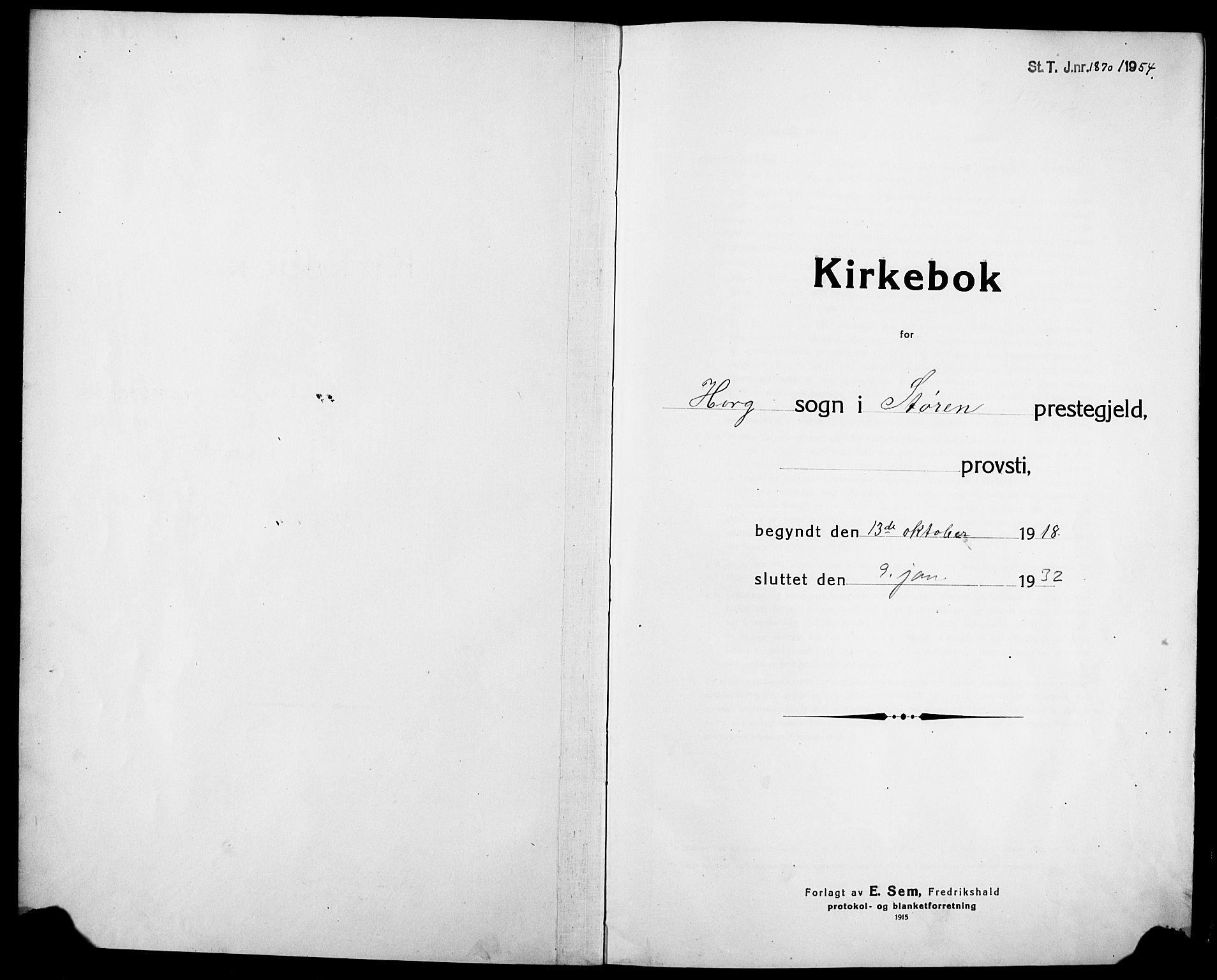 SAT, Ministerialprotokoller, klokkerbøker og fødselsregistre - Sør-Trøndelag, 692/L1113: Parish register (copy) no. 692C08, 1918-1932