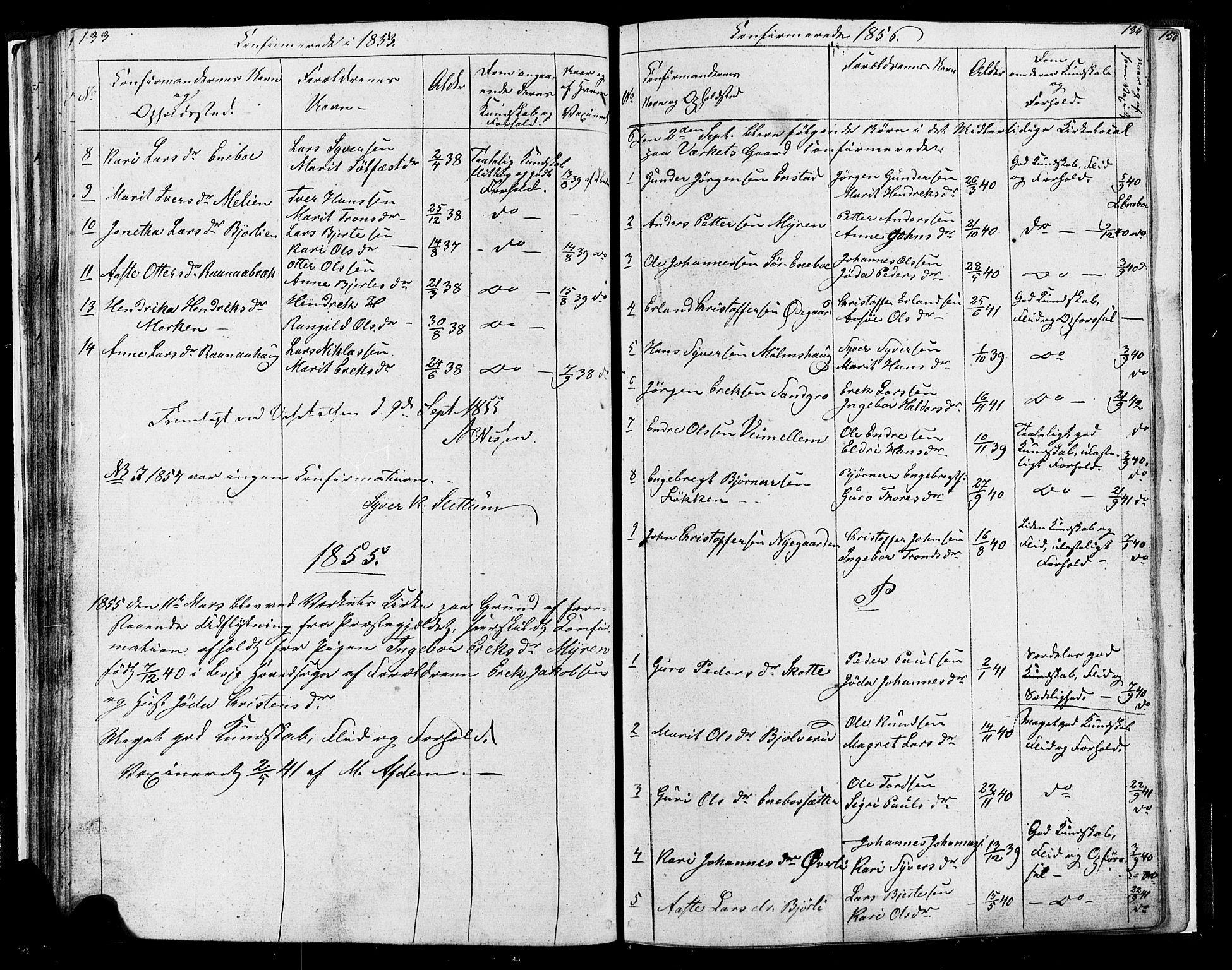 SAH, Lesja prestekontor, Parish register (copy) no. 4, 1842-1871, p. 133-134