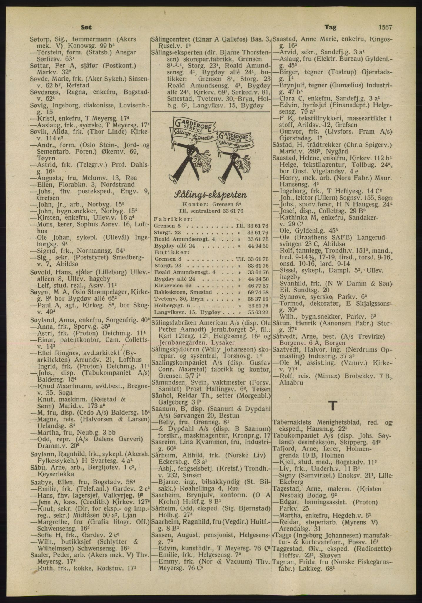 PUBL, Kristiania/Oslo adressebok, 1955, p. 1567