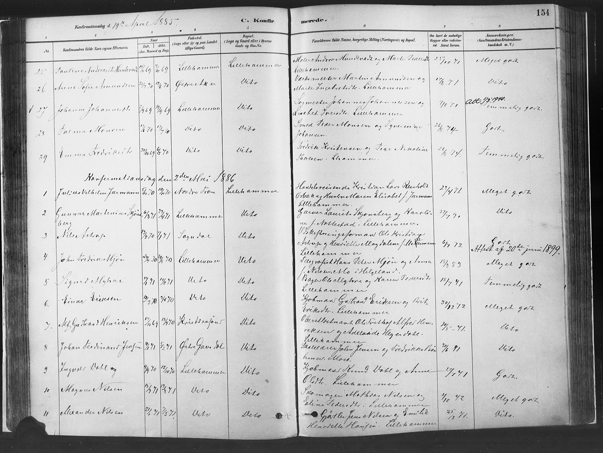 SAH, Fåberg prestekontor, H/Ha/Haa/L0010: Parish register (official) no. 10, 1879-1900, p. 154