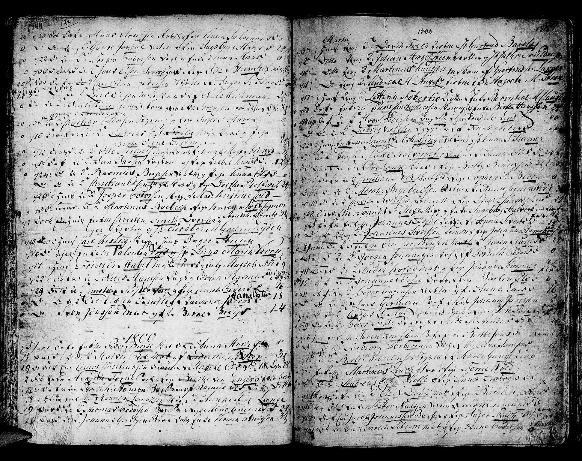 SAB, Domkirken Sokneprestembete, H/Haa/L0007: Parish register (official) no. A 7, 1725-1826, p. 124-125