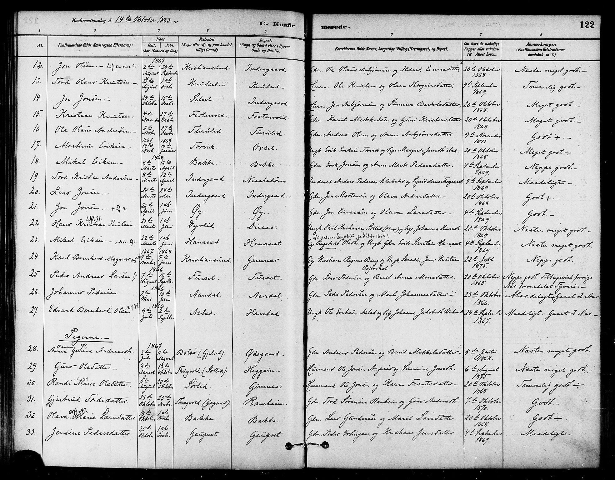 SAT, Ministerialprotokoller, klokkerbøker og fødselsregistre - Møre og Romsdal, 584/L0967: Parish register (official) no. 584A07, 1879-1894, p. 122