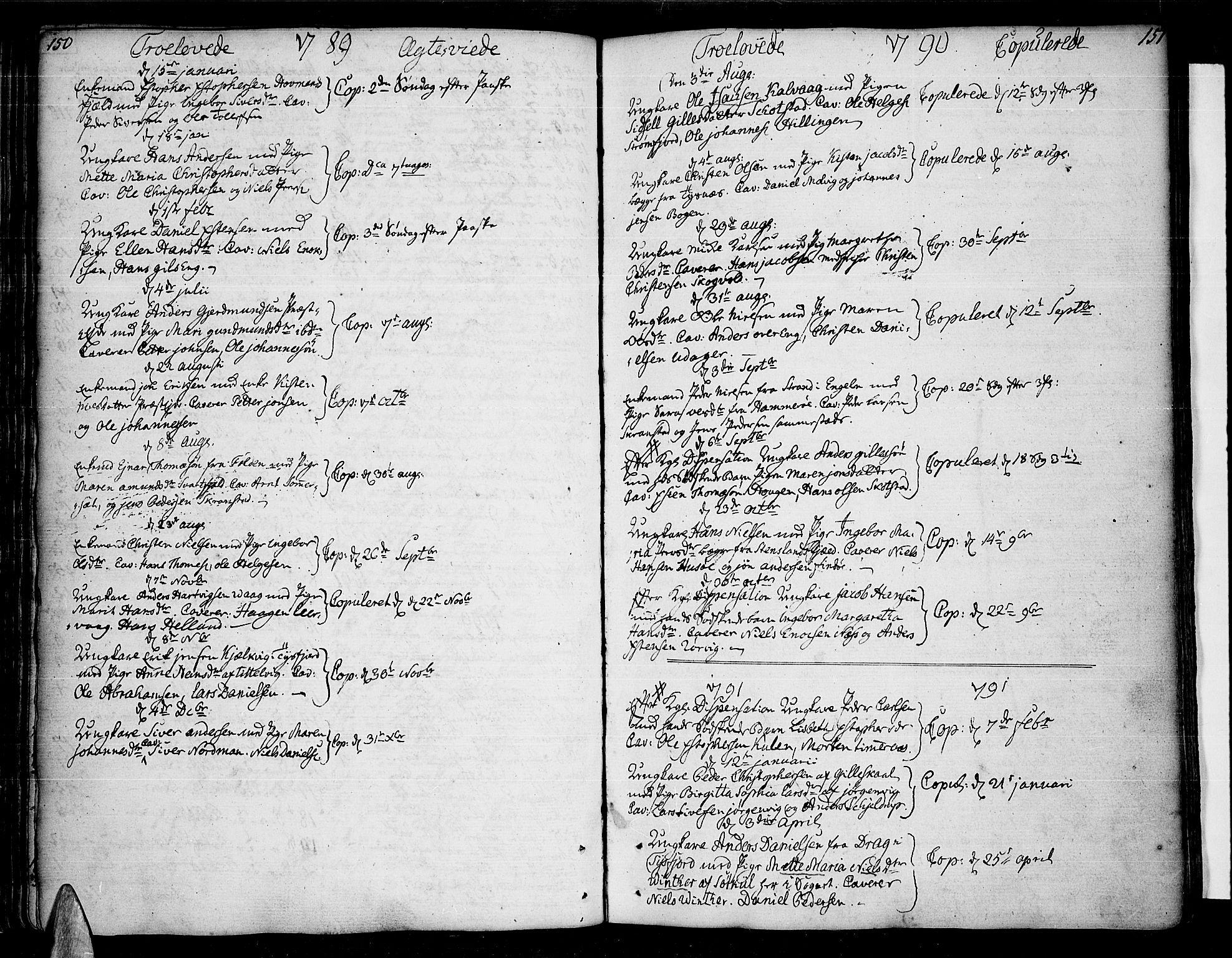 SAT, Ministerialprotokoller, klokkerbøker og fødselsregistre - Nordland, 859/L0841: Parish register (official) no. 859A01, 1766-1821, p. 150-151