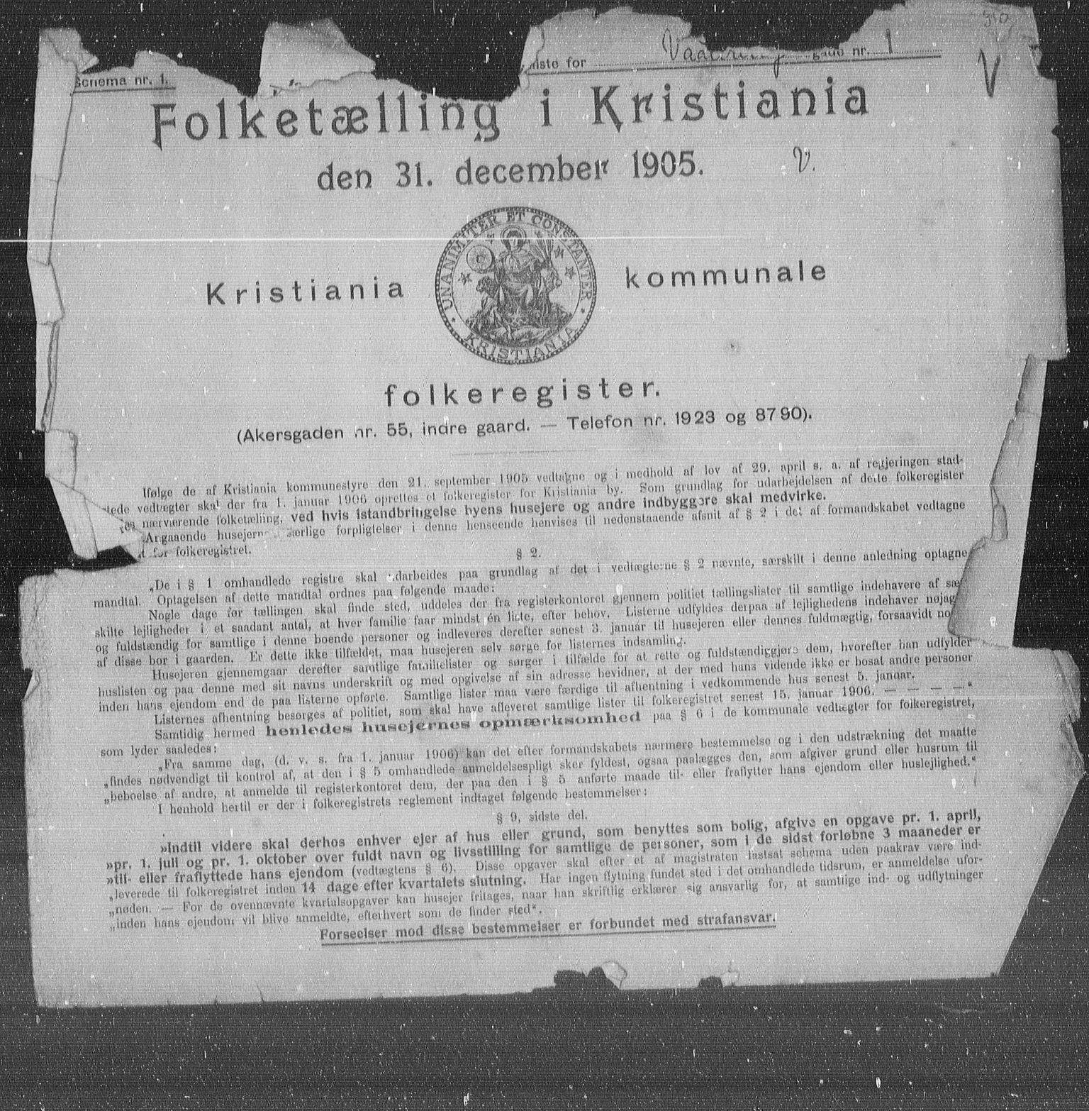 OBA, Municipal Census 1905 for Kristiania, 1905, p. 63783