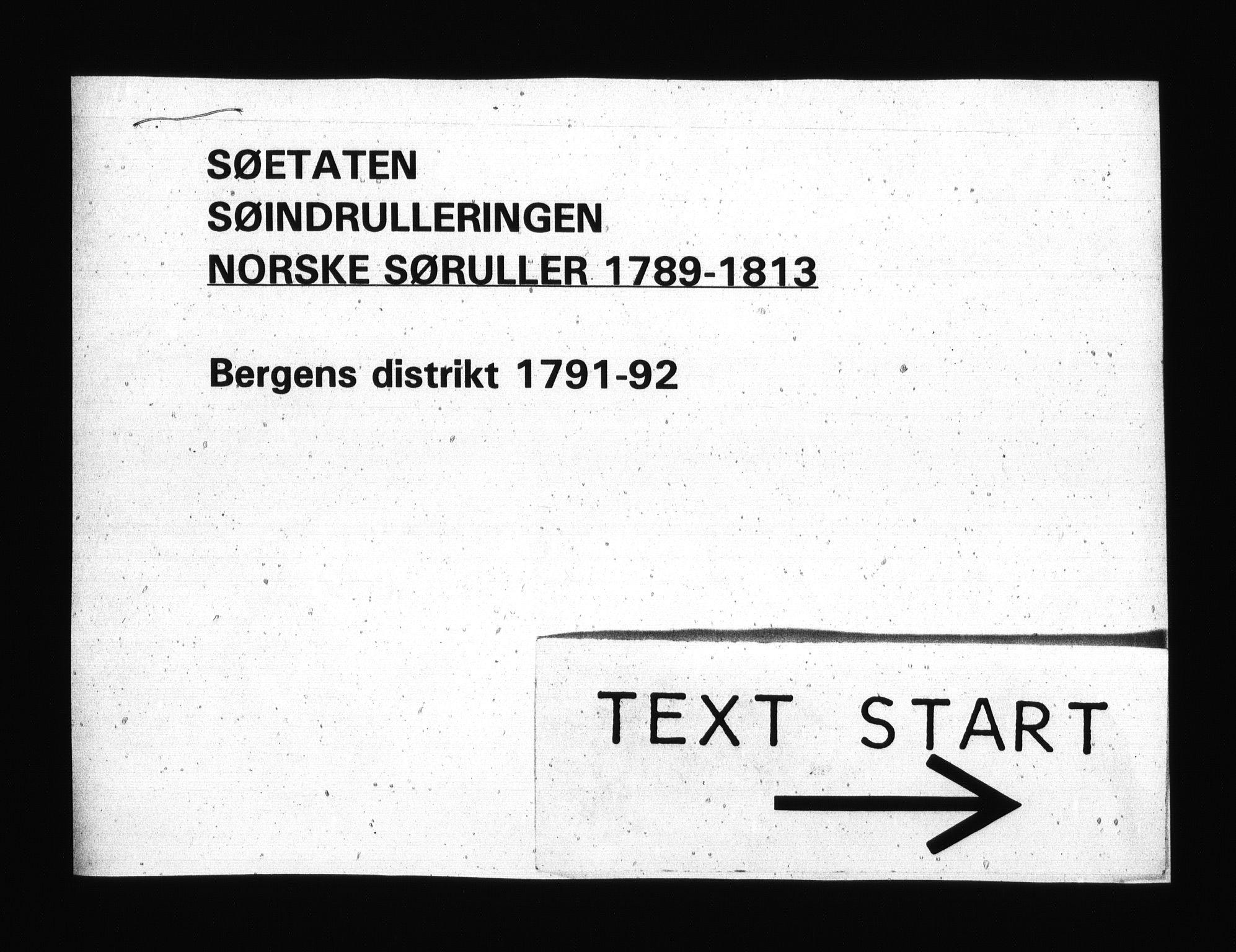 RA, Sjøetaten, F/L0217: Bergen distrikt, bind 1, 1791-1792