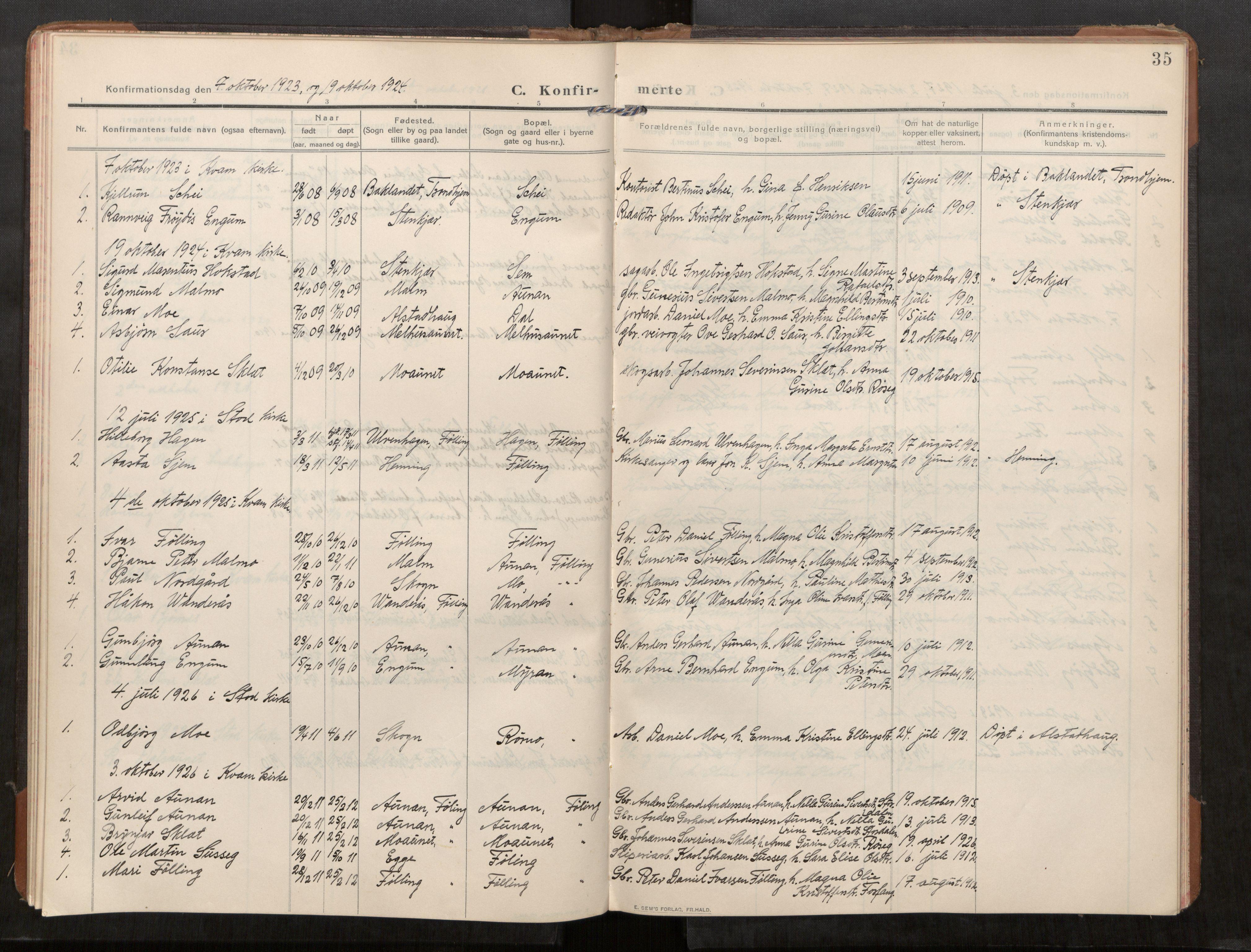 SAT, Stod sokneprestkontor, I/I1/I1a/L0003: Parish register (official) no. 3, 1909-1934, p. 35