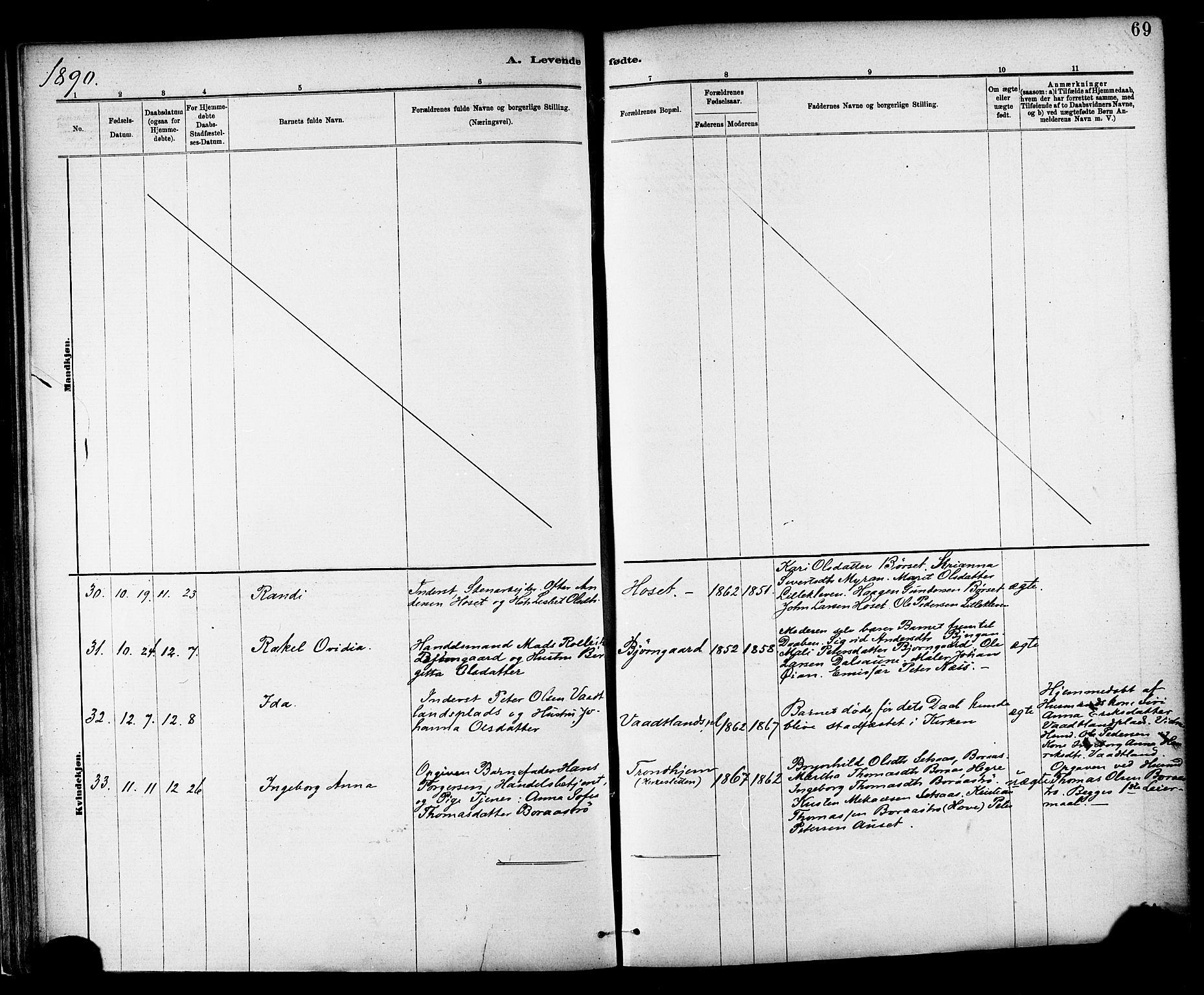 SAT, Ministerialprotokoller, klokkerbøker og fødselsregistre - Nord-Trøndelag, 703/L0030: Parish register (official) no. 703A03, 1880-1892, p. 69