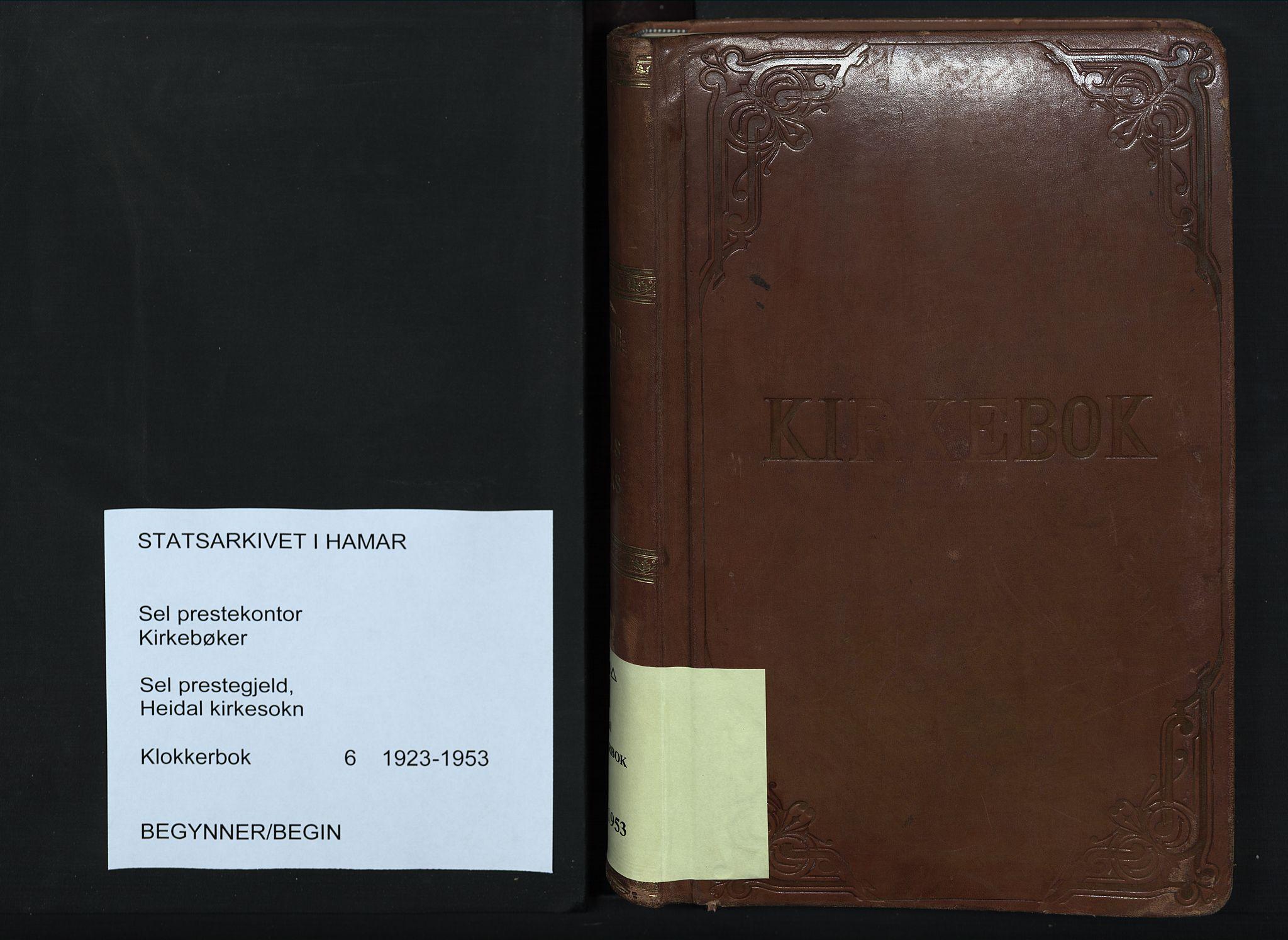 SAH, Sel prestekontor, Parish register (copy) no. 6, 1923-1953