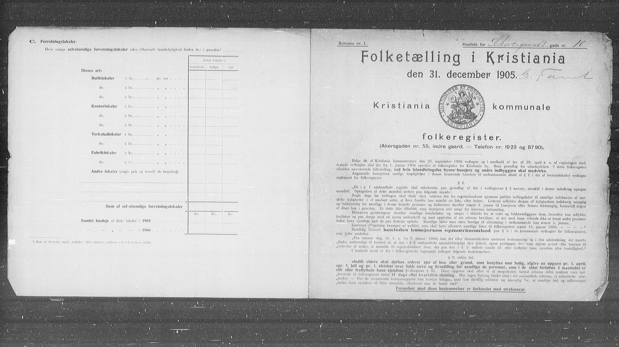 OBA, Municipal Census 1905 for Kristiania, 1905, p. 47179