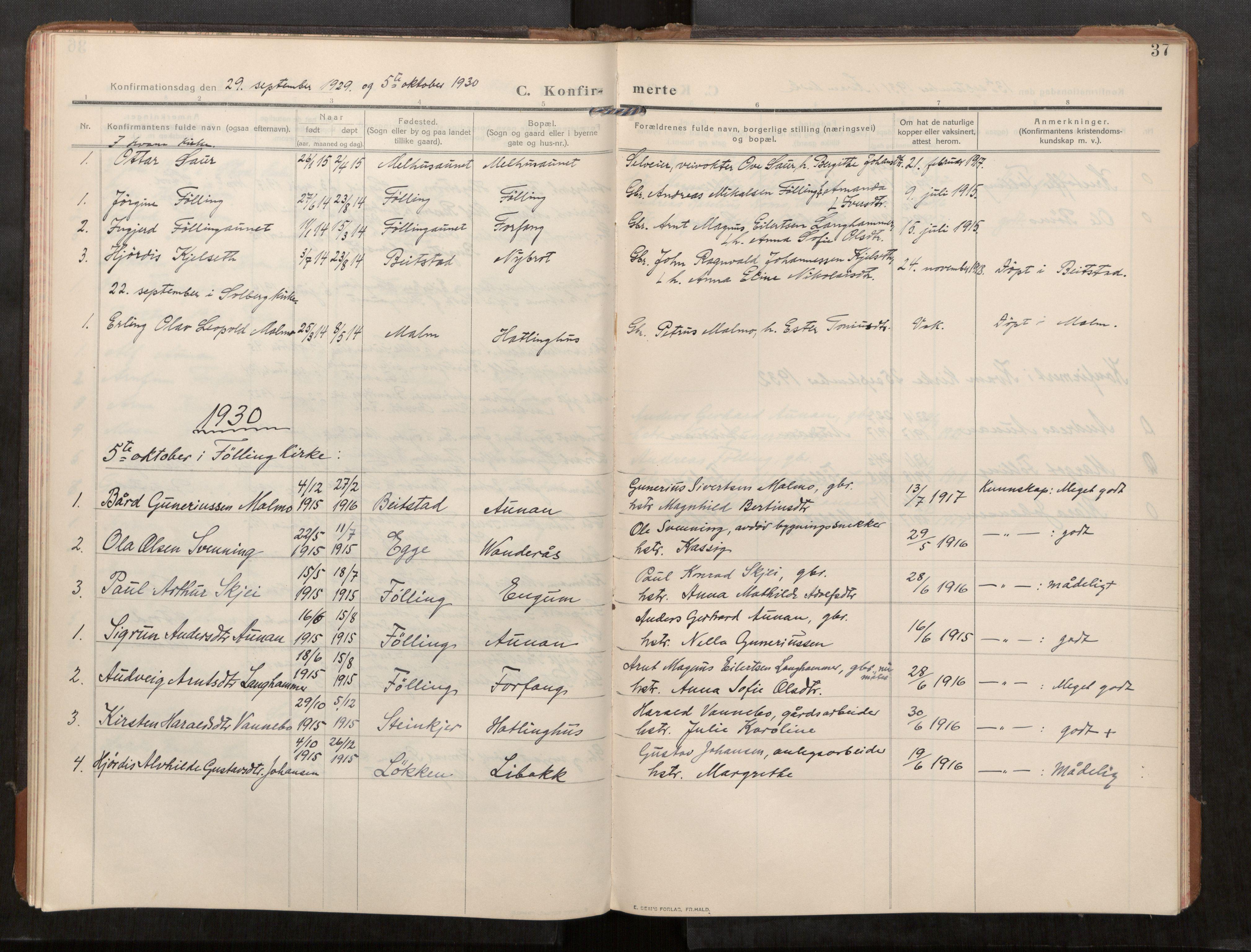 SAT, Stod sokneprestkontor, I/I1/I1a/L0003: Parish register (official) no. 3, 1909-1934, p. 37