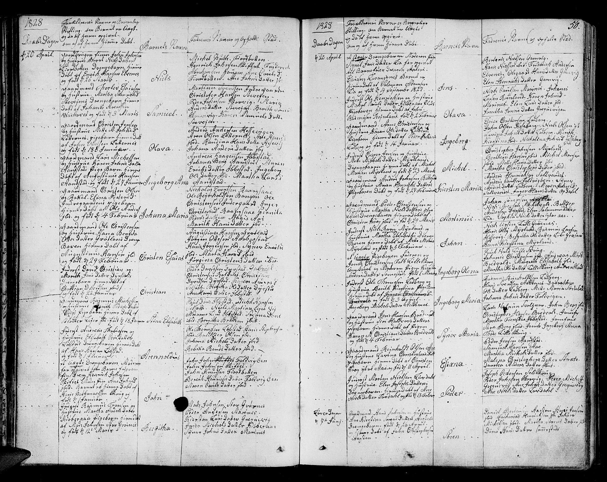 SATØ, Ibestad sokneprestembete, H/Ha/Haa/L0005kirke: Parish register (official) no. 5, 1825-1836, p. 50
