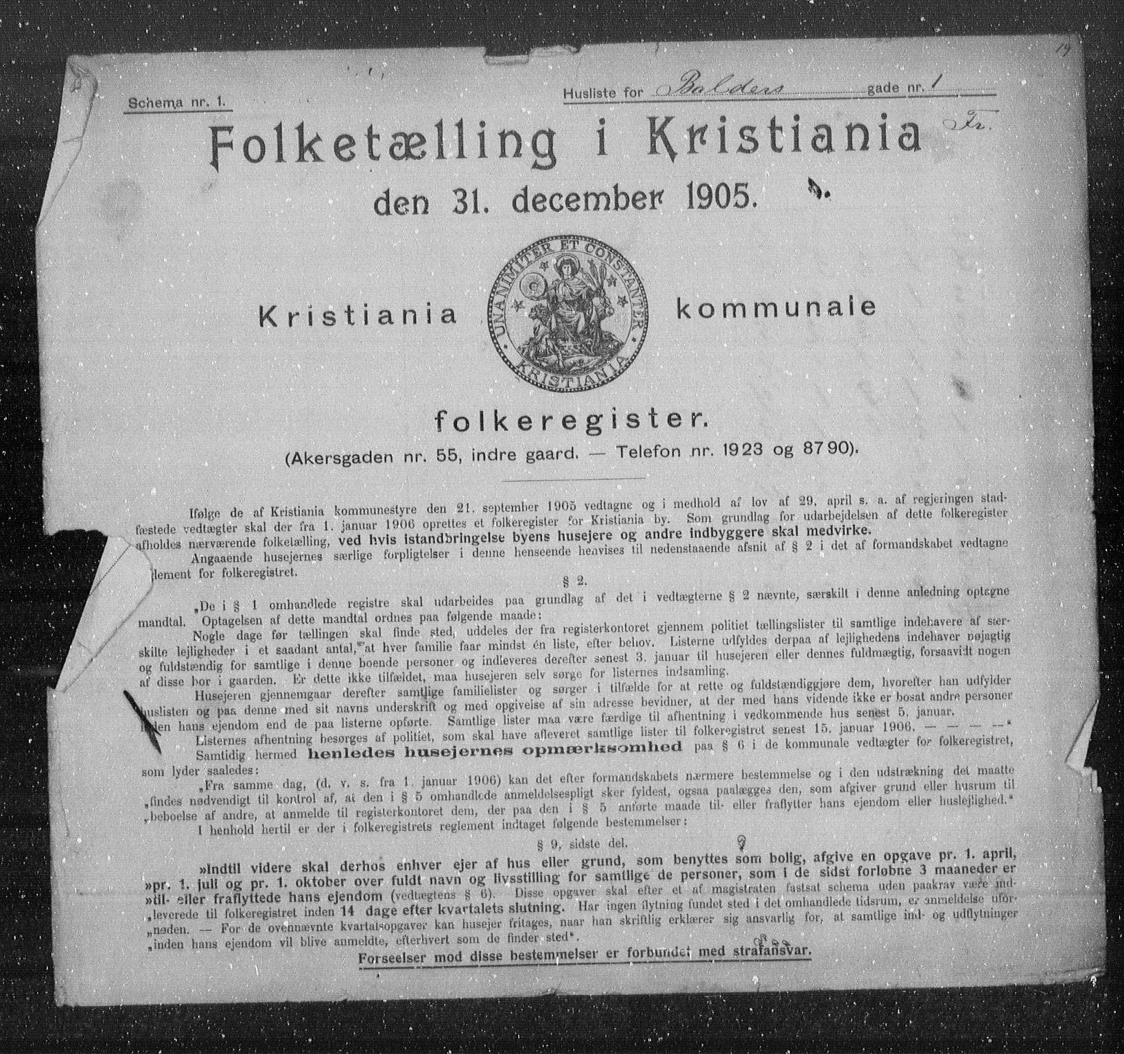 OBA, Municipal Census 1905 for Kristiania, 1905, p. 1561