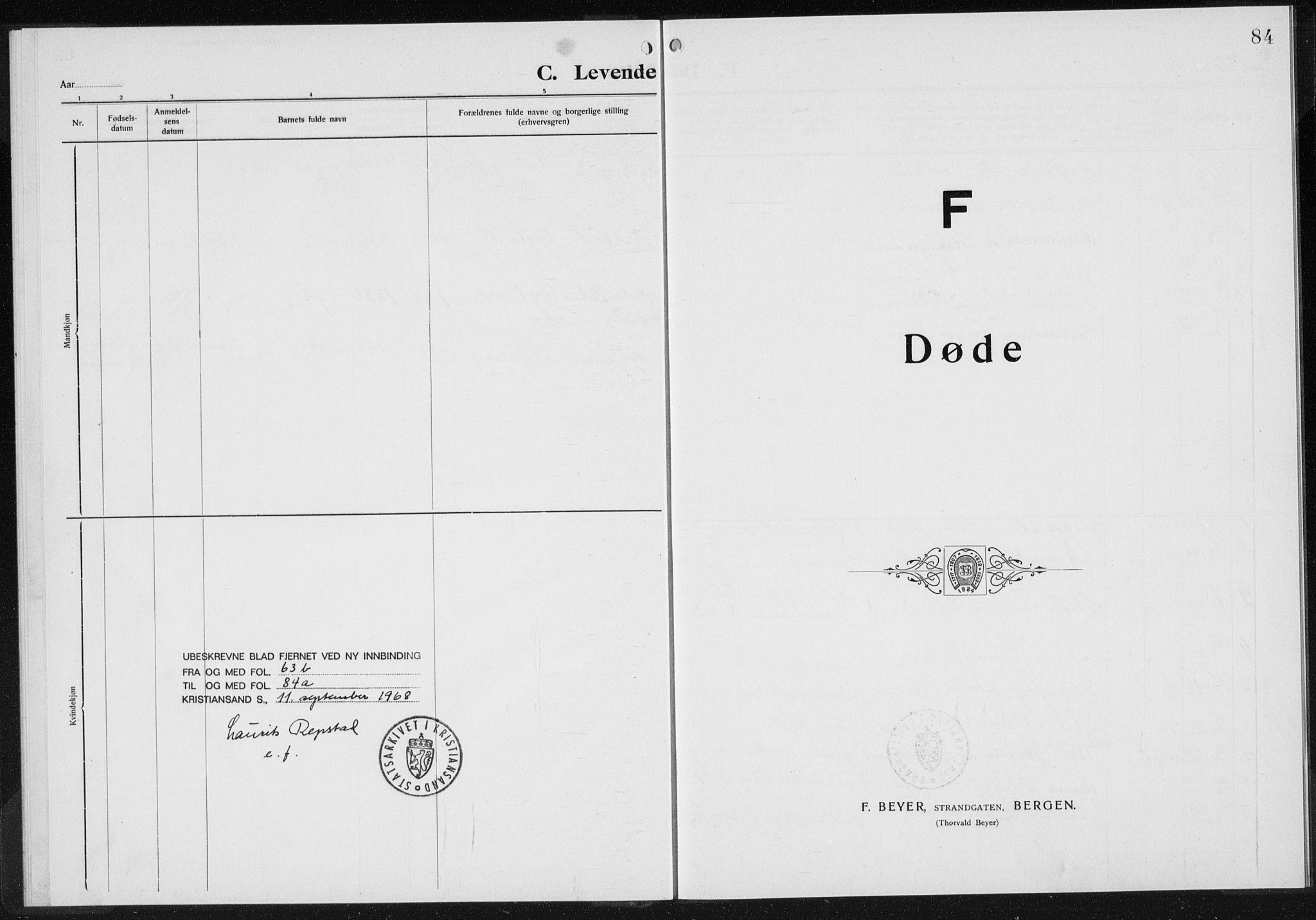 SAK, Baptistmenigheten i Gyland, F/Fa/L0001: Dissenter register no. F 1, 1902-1937, p. 84