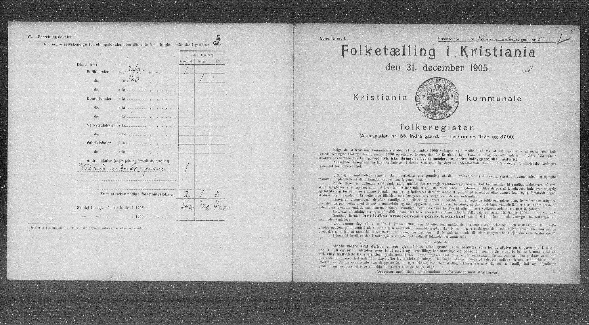OBA, Municipal Census 1905 for Kristiania, 1905, p. 36258