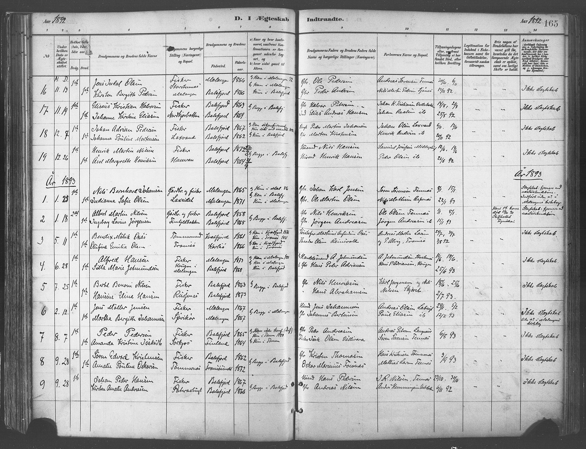SATØ, Balsfjord sokneprestembete, Parish register (official) no. 5, 1884-1897, p. 165