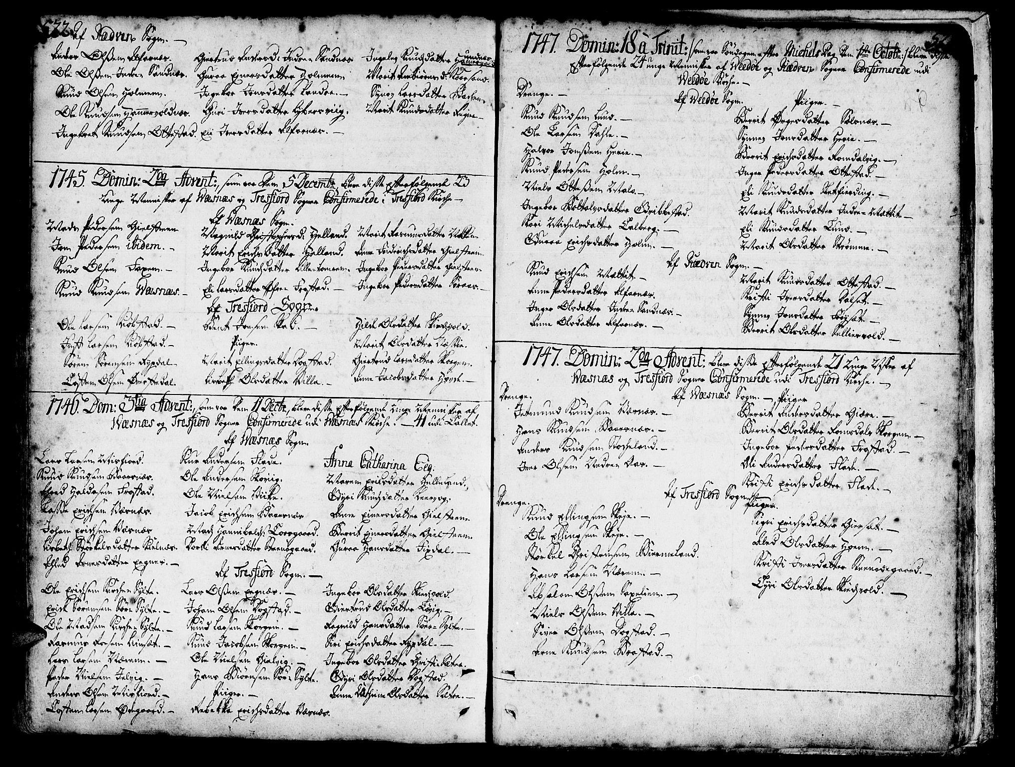 SAT, Ministerialprotokoller, klokkerbøker og fødselsregistre - Møre og Romsdal, 547/L0599: Parish register (official) no. 547A01, 1721-1764, p. 522-523