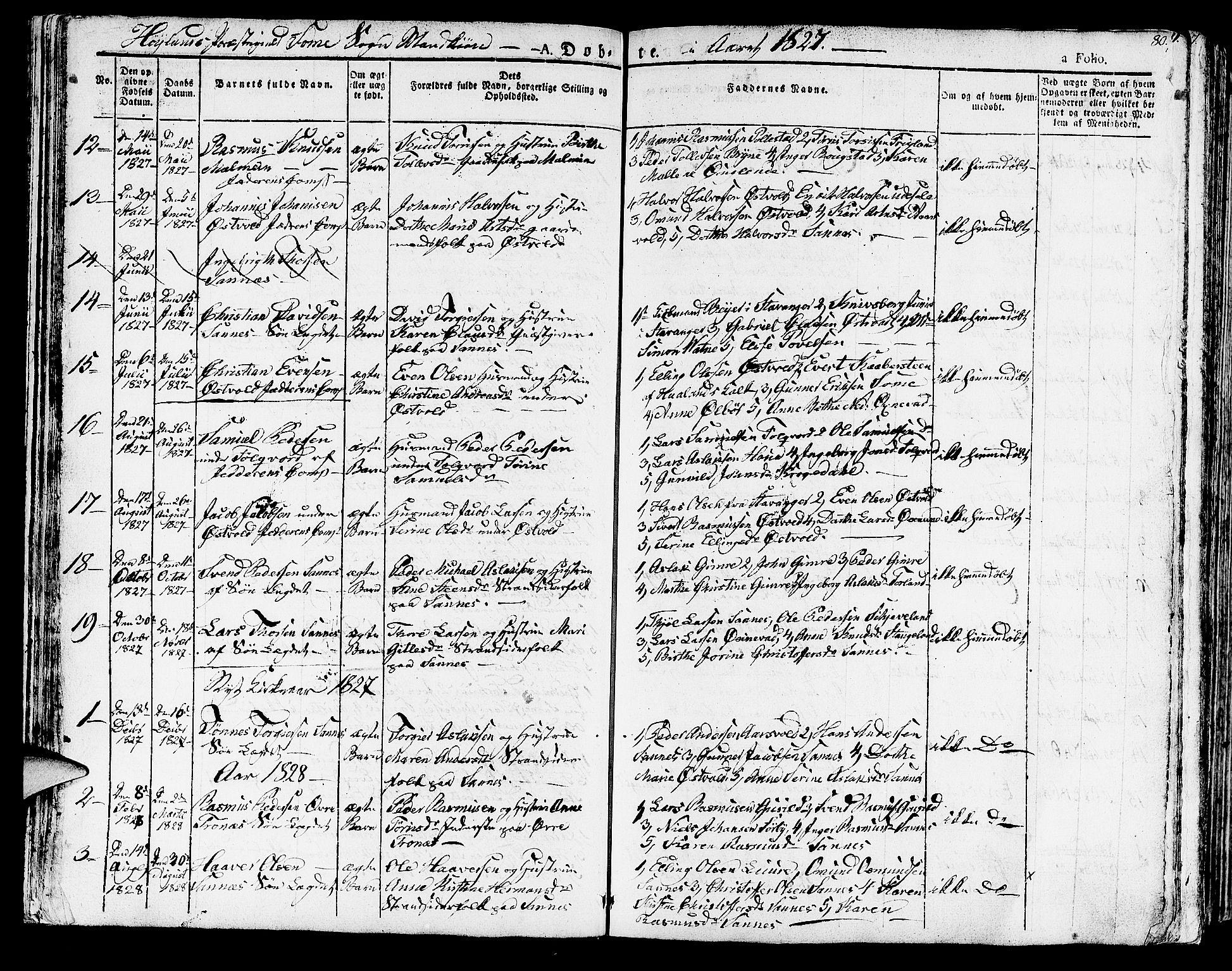 SAST, Høyland sokneprestkontor, 30BA/L0007: Parish register (official) no. A 7 /2, 1825-1841, p. 80