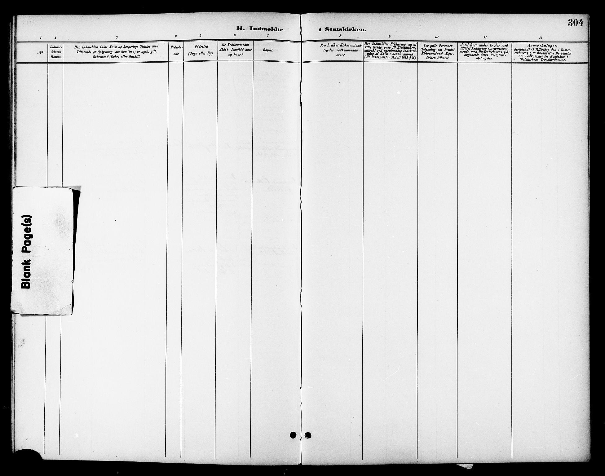 SAT, Ministerialprotokoller, klokkerbøker og fødselsregistre - Nordland, 801/L0033: Parish register (copy) no. 801C08, 1898-1910, p. 304