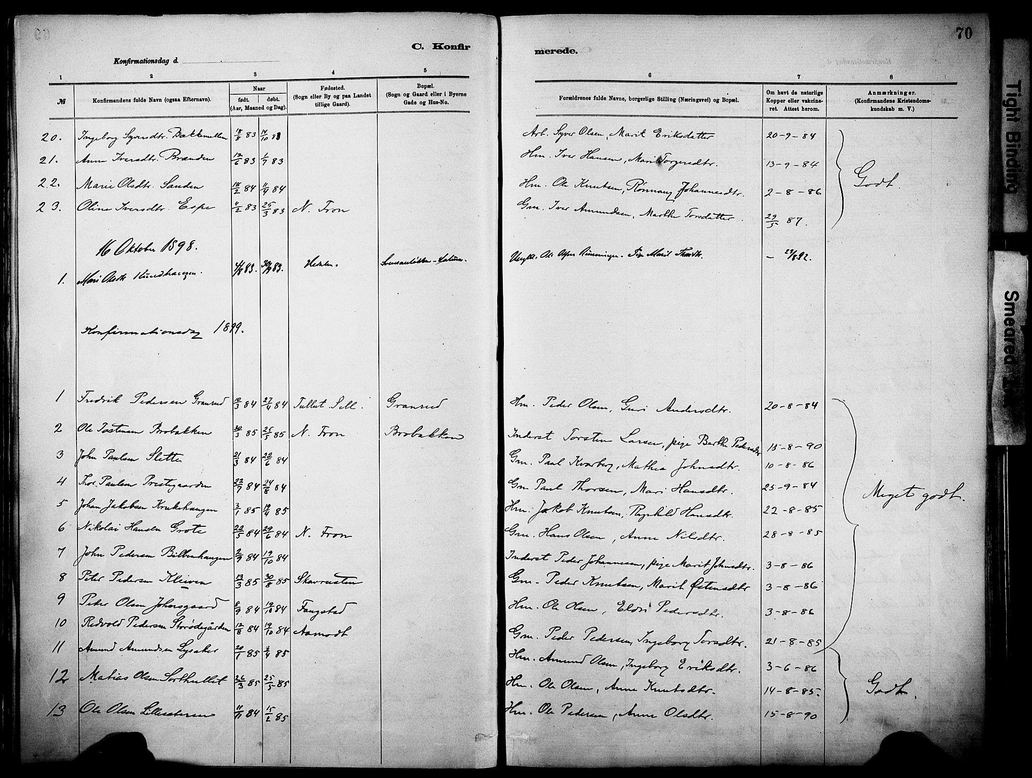 SAH, Vågå prestekontor, Parish register (official) no. 10, 1887-1904, p. 70