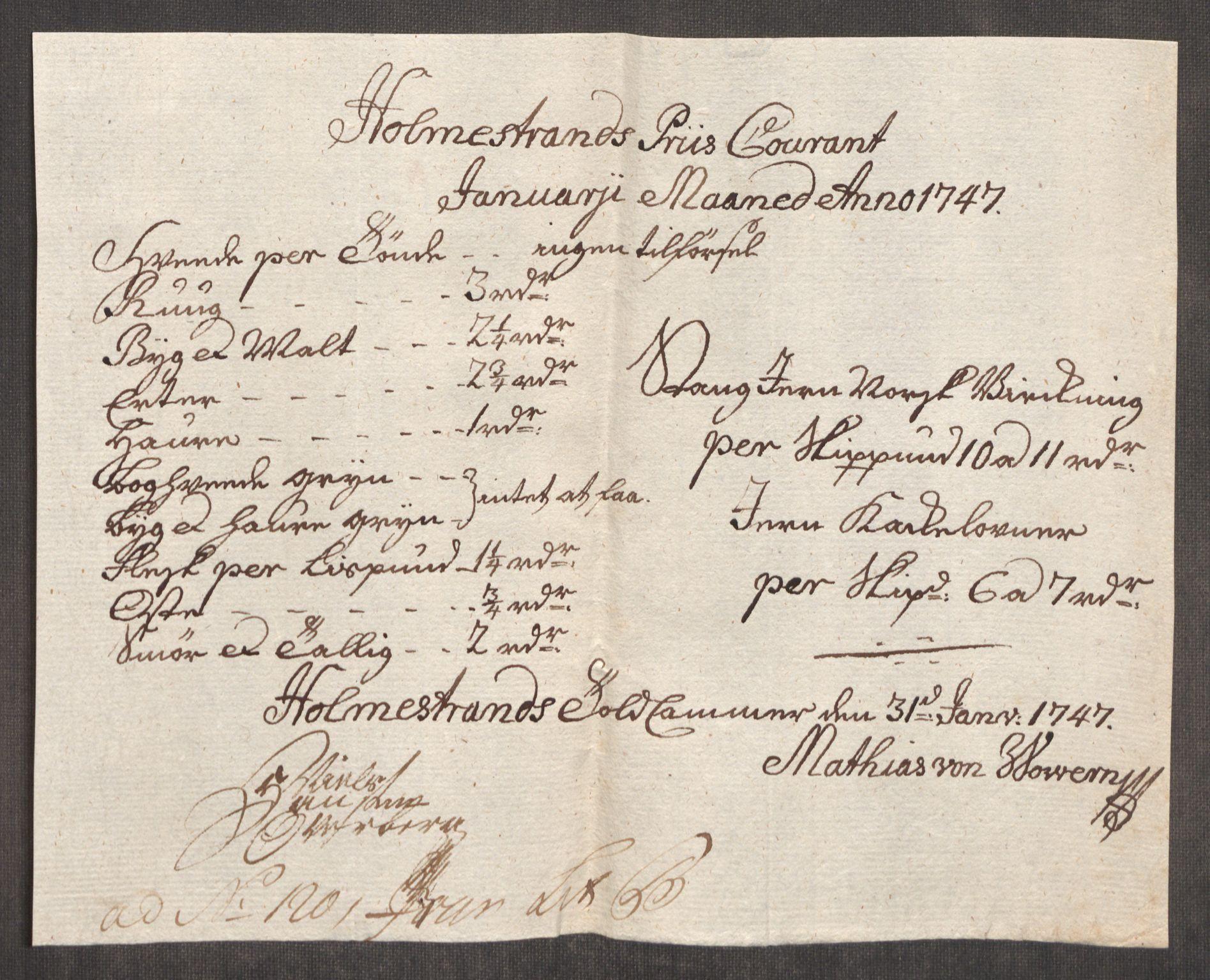 RA, Rentekammeret inntil 1814, Realistisk ordnet avdeling, Oe/L0003: [Ø1]: Priskuranter, 1745-1748, p. 535