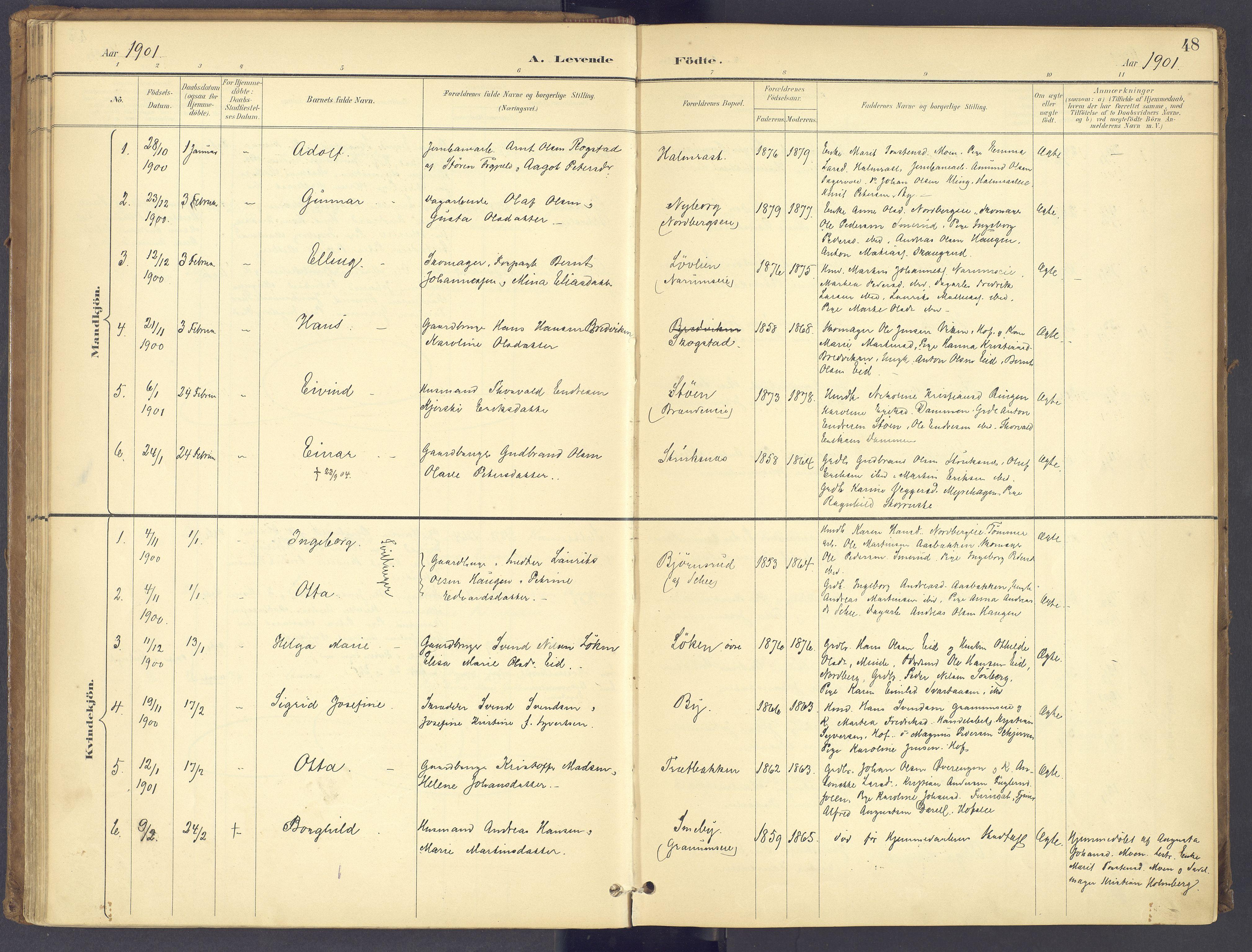 SAH, Søndre Land prestekontor, K/L0006: Parish register (official) no. 6, 1895-1904, p. 48