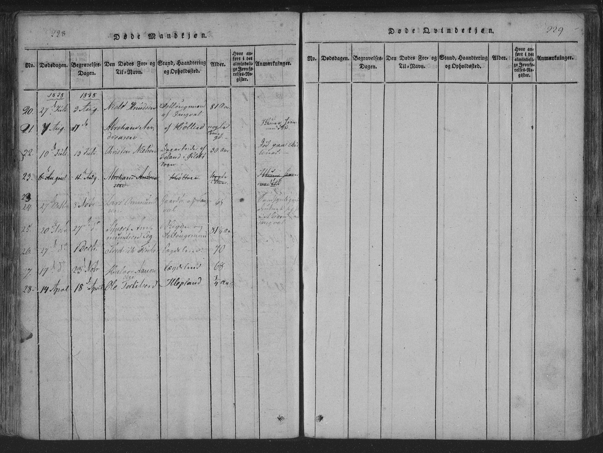 SAK, Søgne sokneprestkontor, F/Fa/Fab/L0008: Parish register (official) no. A 8, 1821-1838, p. 228-229