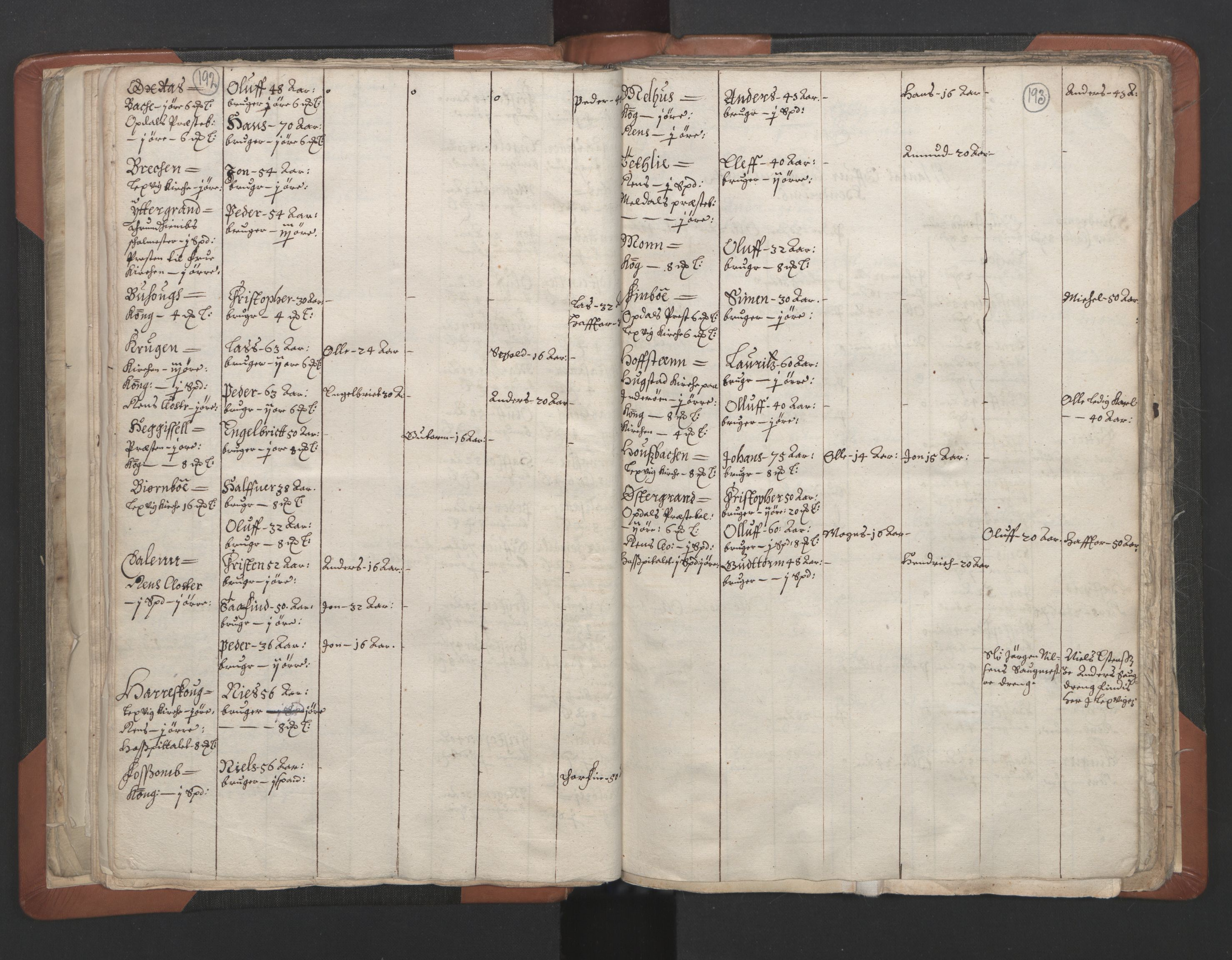 RA, Vicar's Census 1664-1666, no. 32: Innherad deanery, 1664-1666, p. 192-193