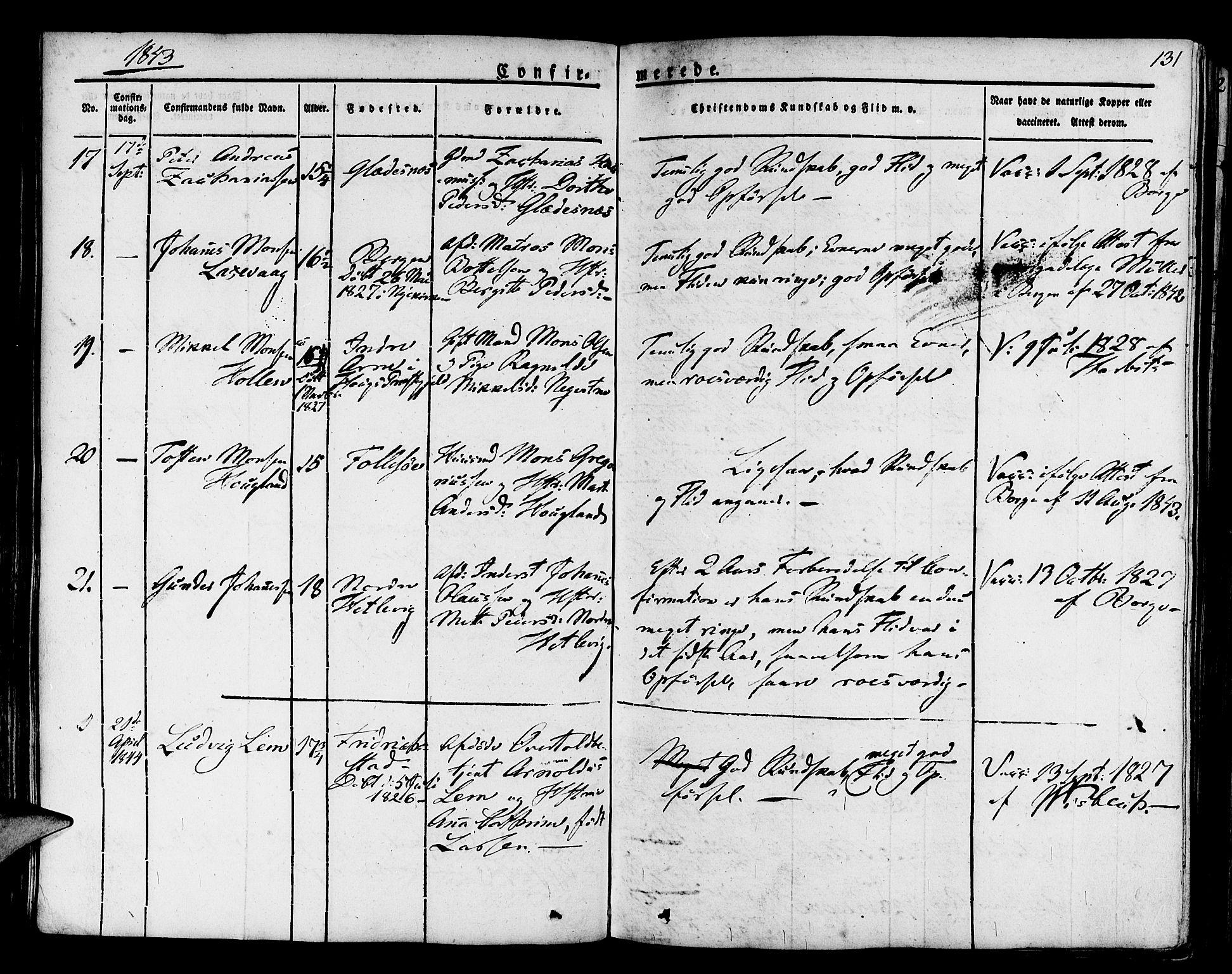 SAB, Askøy Sokneprestembete, H/Ha/Haa/Haaa/L0004: Parish register (official) no. A 4, 1825-1845, p. 131