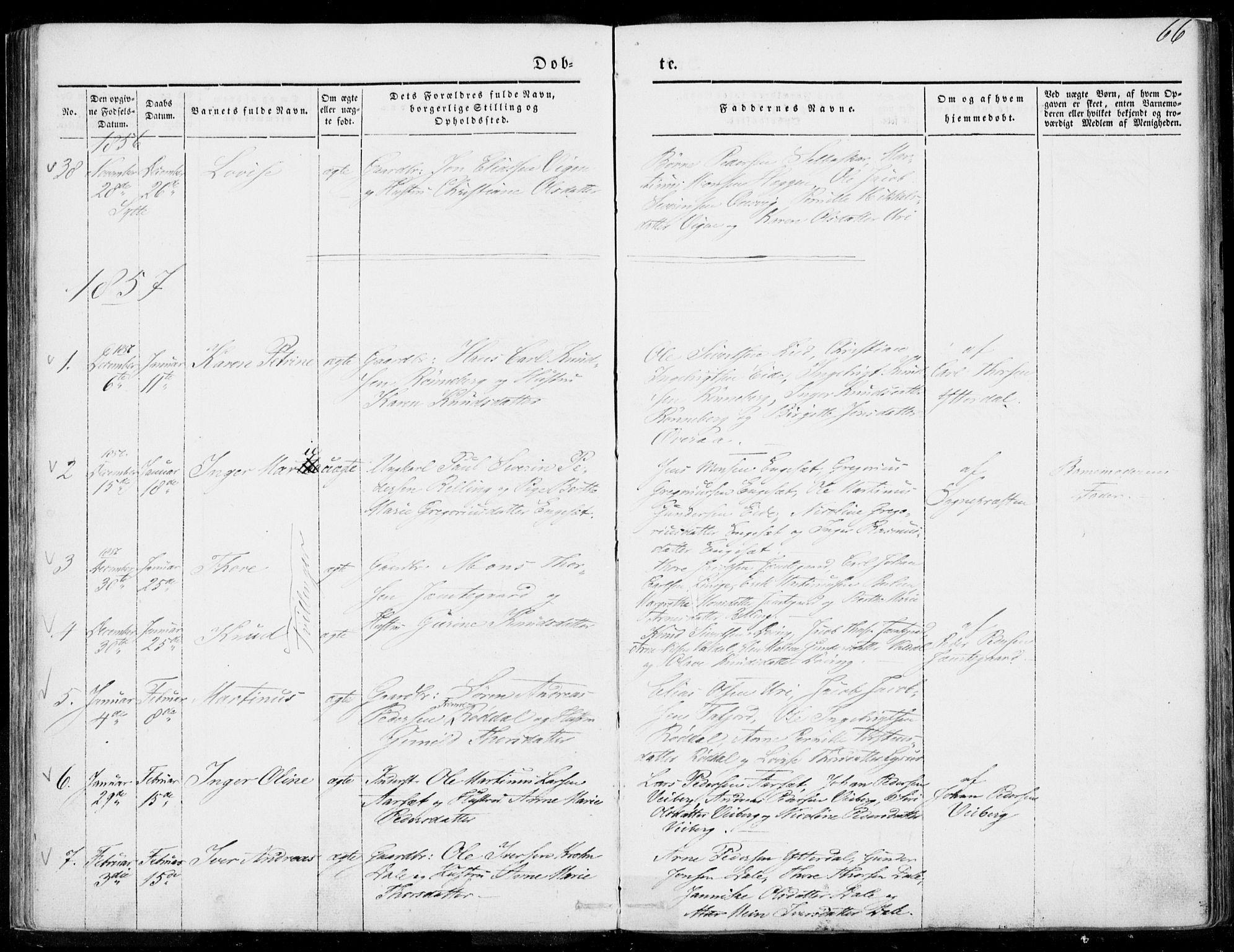 SAT, Ministerialprotokoller, klokkerbøker og fødselsregistre - Møre og Romsdal, 519/L0249: Parish register (official) no. 519A08, 1846-1868, p. 66