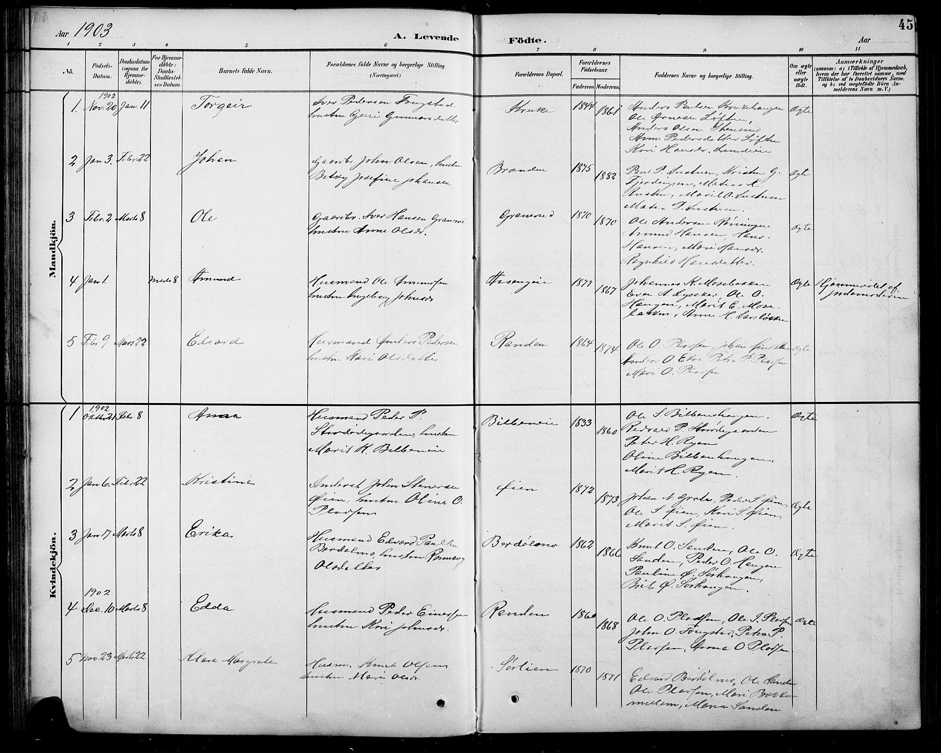 SAH, Sel prestekontor, Parish register (copy) no. 5, 1894-1923, p. 45