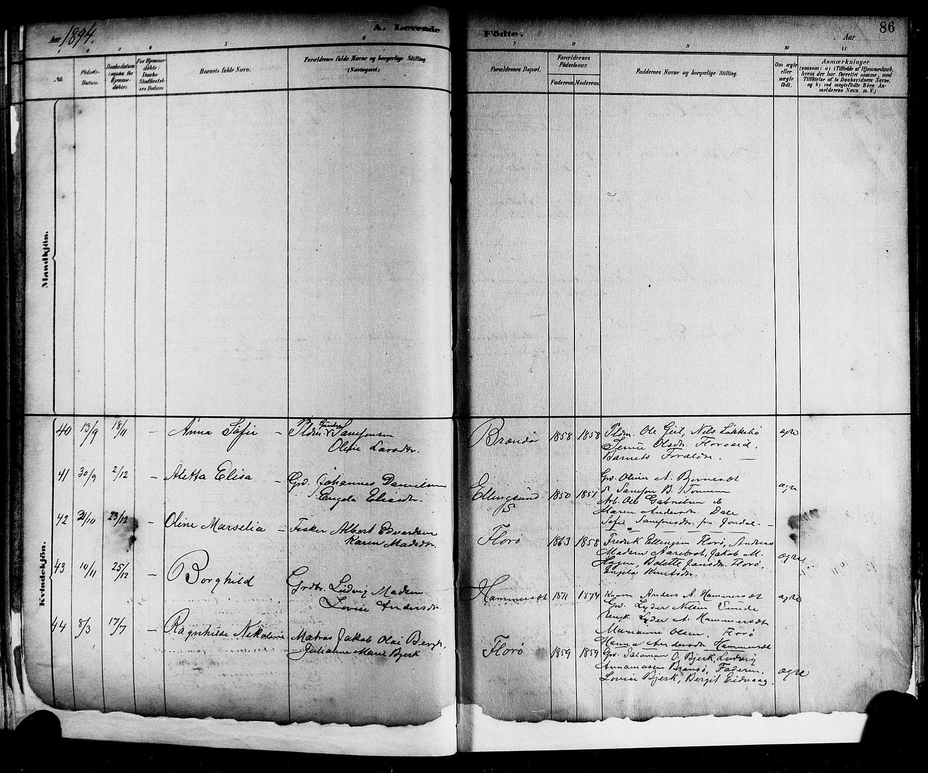 SAB, Kinn sokneprestembete, H/Hab: Parish register (copy) no. A 2, 1882-1906, p. 86