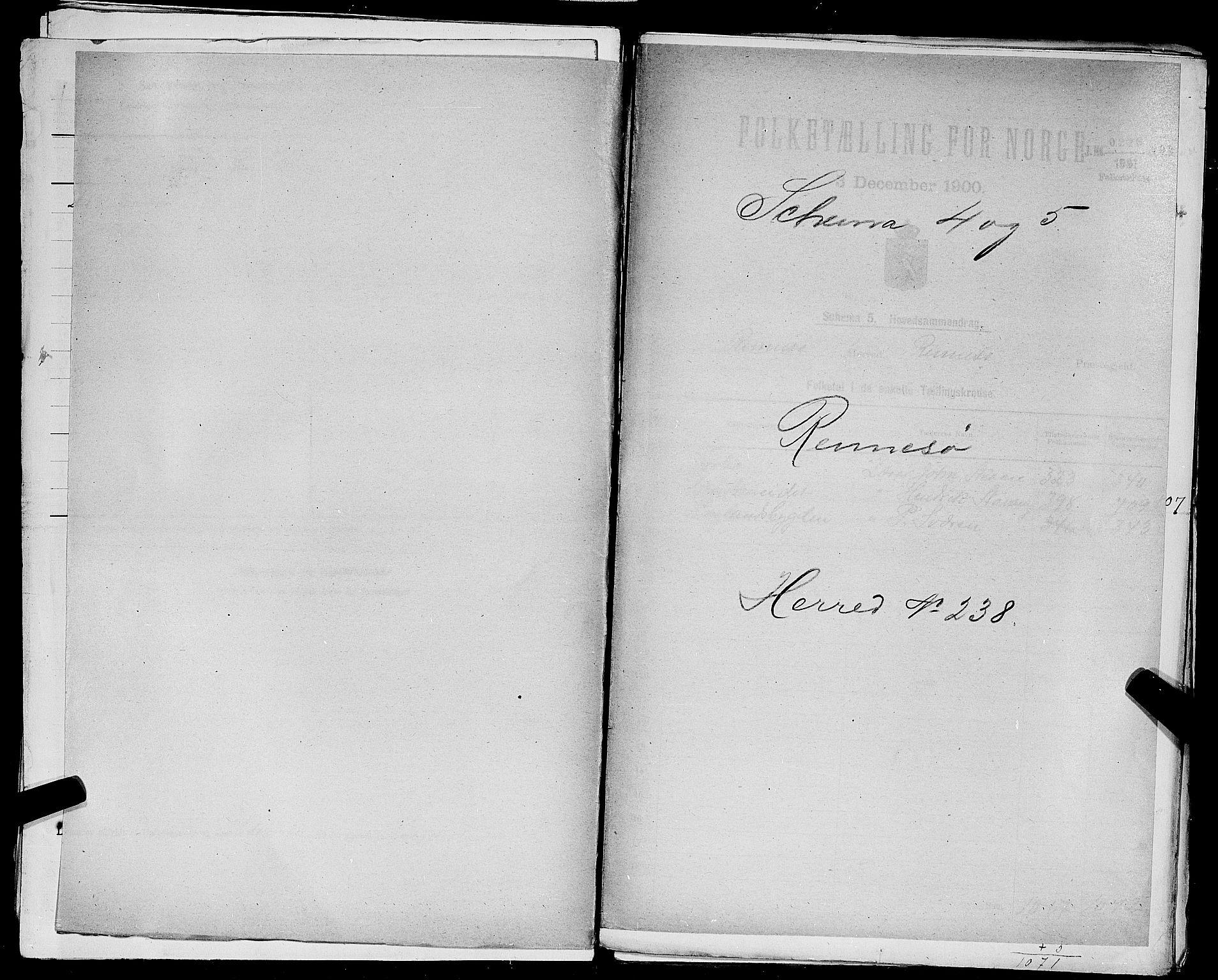 SAST, 1900 census for Rennesøy, 1900, p. 1