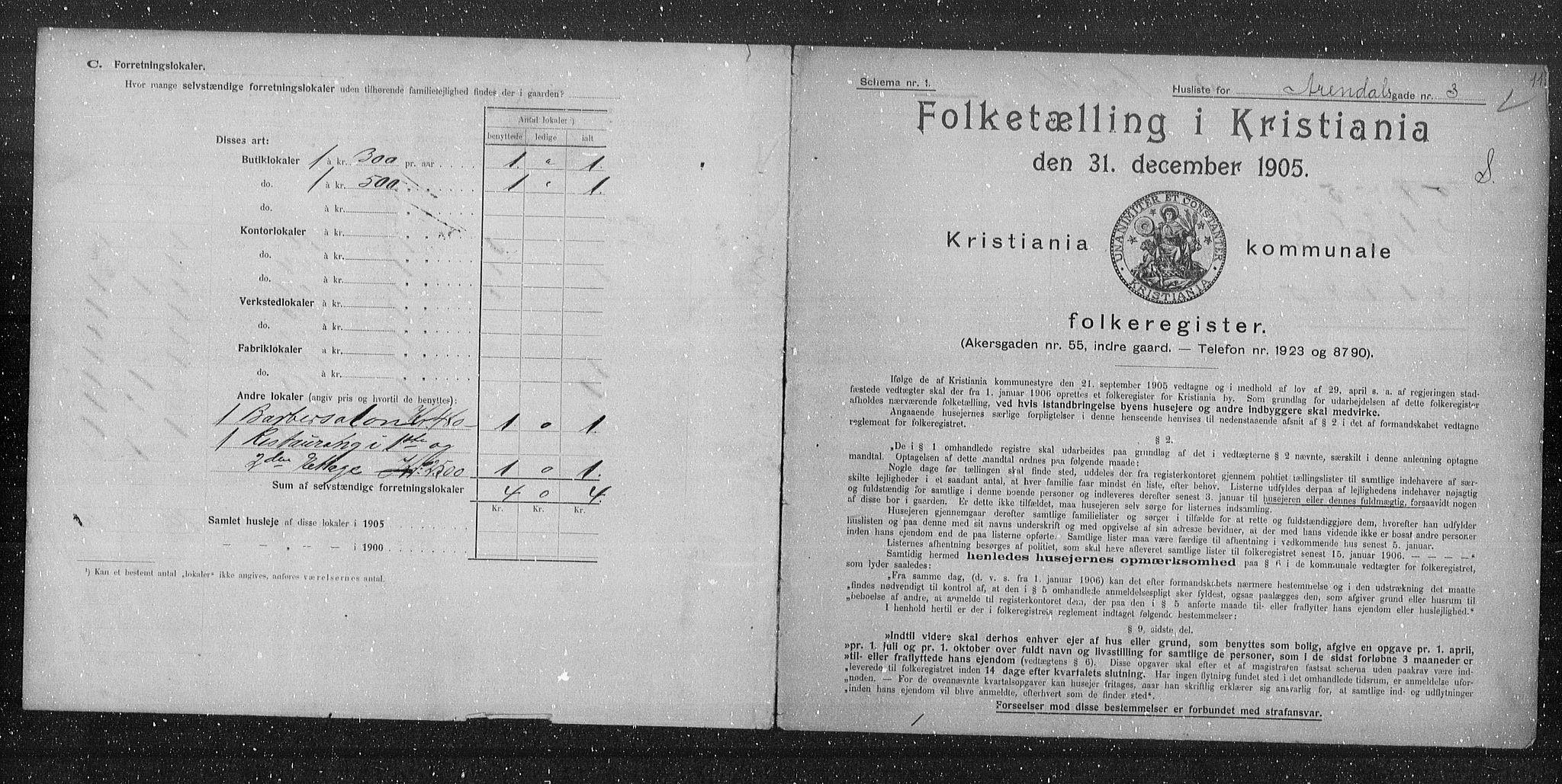 OBA, Municipal Census 1905 for Kristiania, 1905, p. 1025