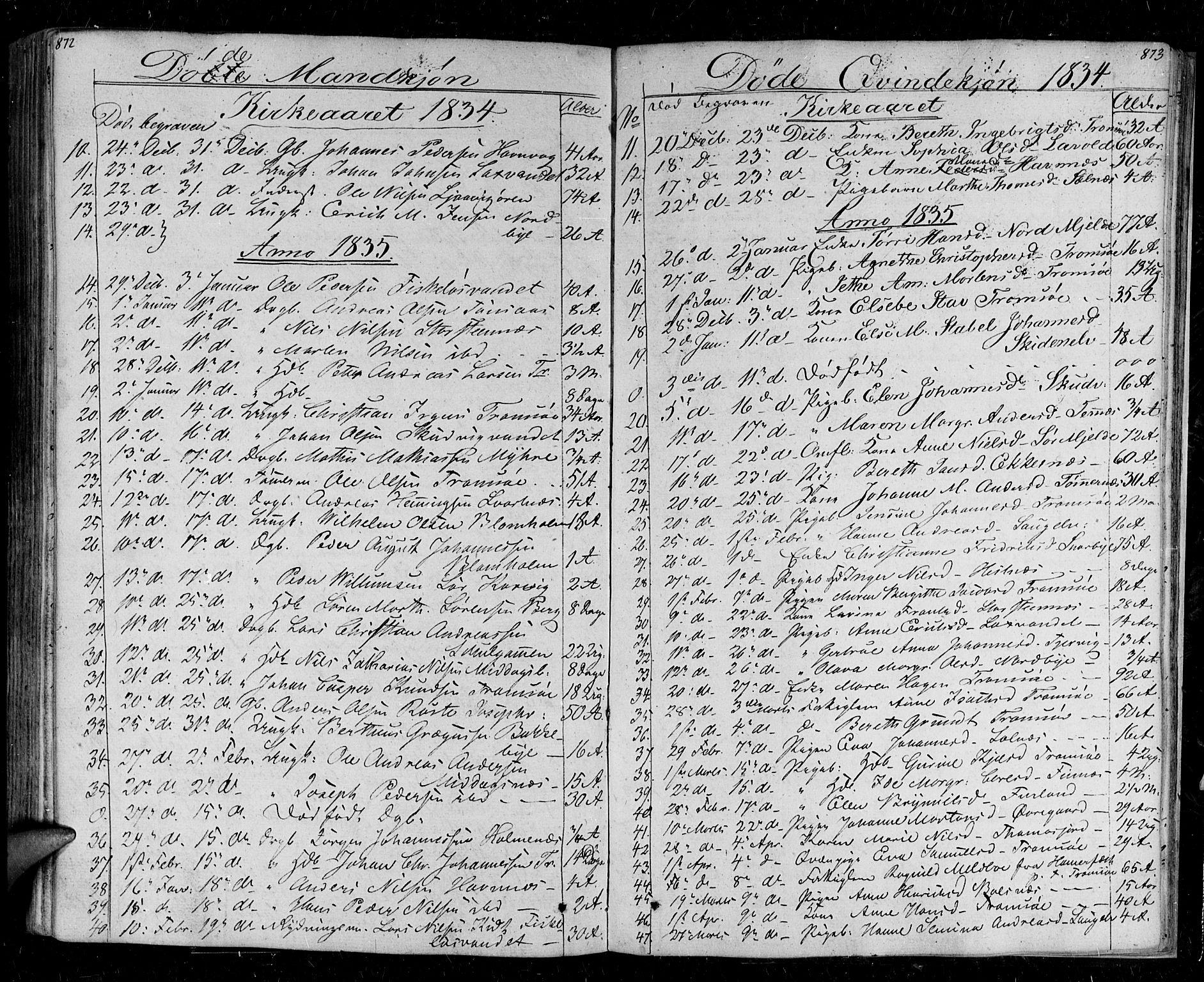 SATØ, Tromsø sokneprestkontor/stiftsprosti/domprosti, G/Ga/L0008kirke: Parish register (official) no. 8, 1829-1837, p. 872-873