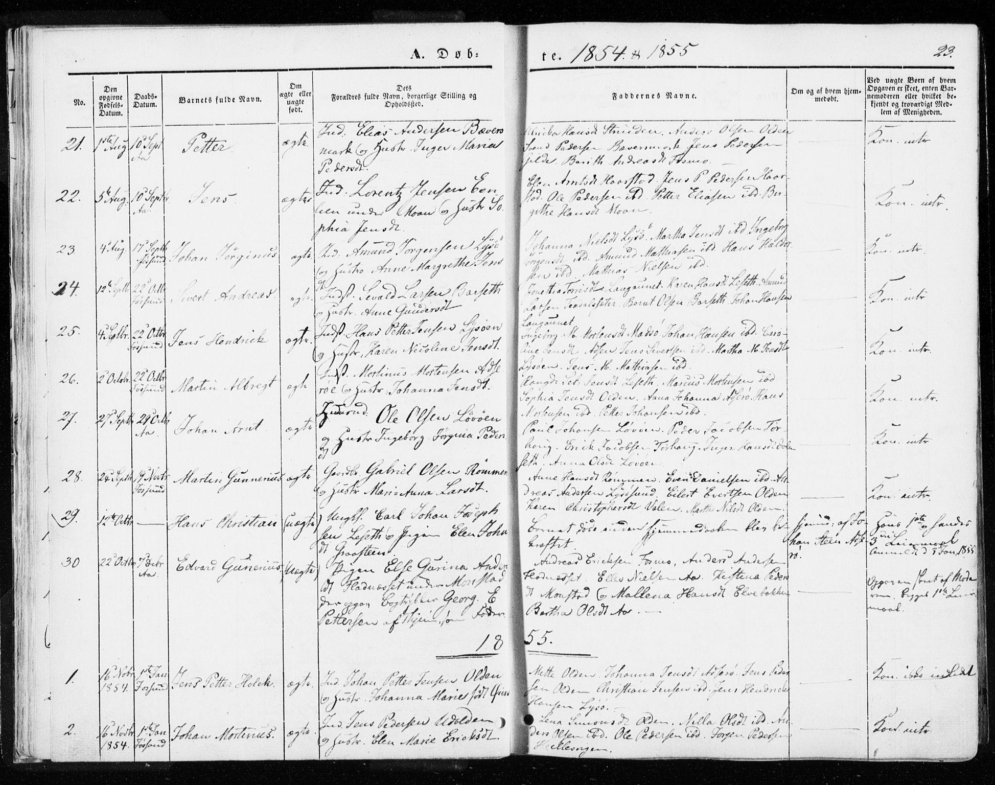 SAT, Ministerialprotokoller, klokkerbøker og fødselsregistre - Sør-Trøndelag, 655/L0677: Parish register (official) no. 655A06, 1847-1860, p. 23