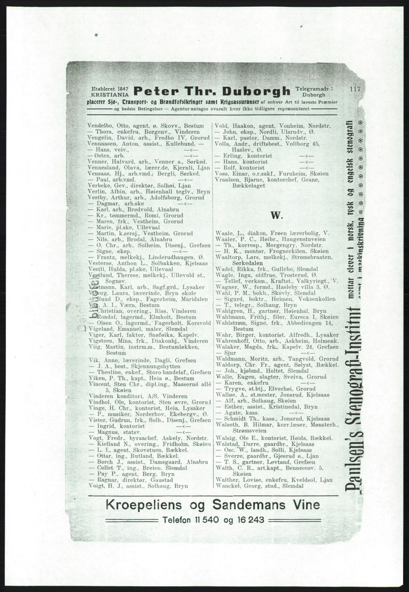 RA, Aker adressebok/adressekalender (publikasjon)*, 1916-1917, p. 117
