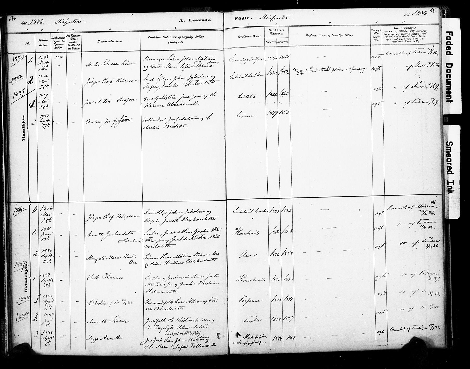 SAKO, Ramnes kirkebøker, F/Fb/L0001: Parish register (official) no. II 1, 1878-1894, p. 64-65